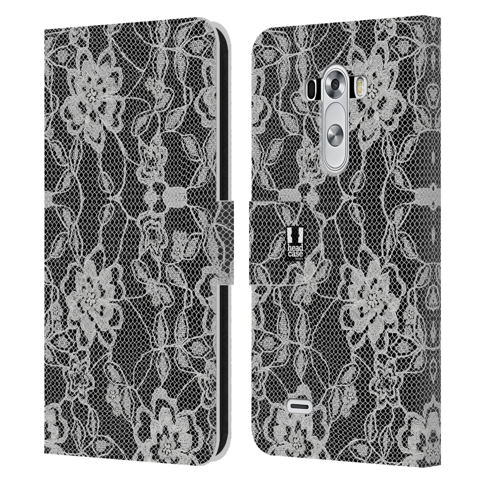 Black Leather Book Cover : Head case designs black lace leather book wallet