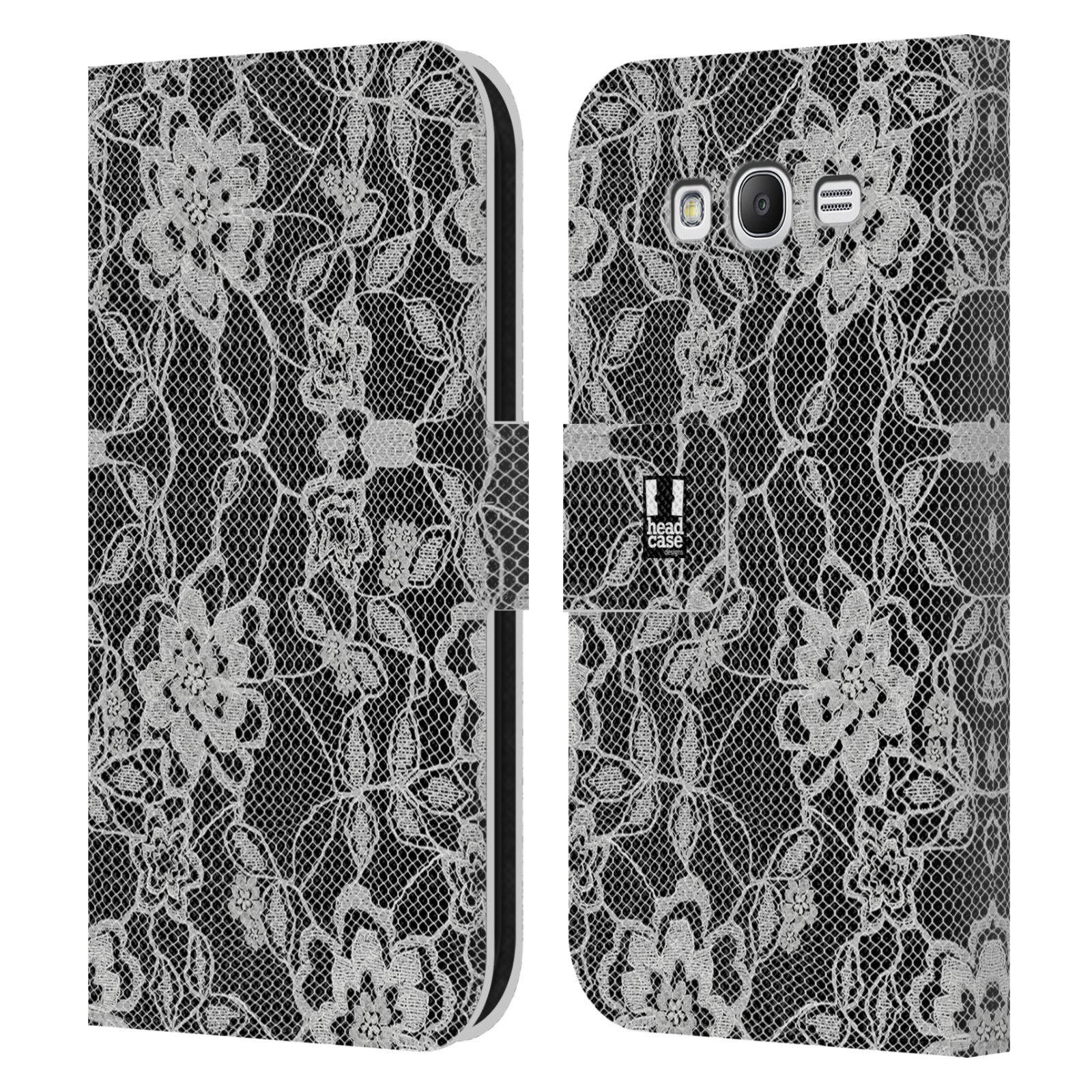 HEAD CASE Flipové pouzdro pro mobil Samsung Galaxy Grand i9080 ČERNOBÍLÁ KRAJKA květy
