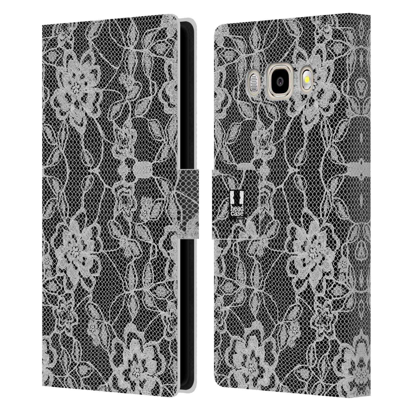 HEAD CASE Flipové pouzdro pro mobil Samsung Galaxy J5 2016 ČERNOBÍLÁ KRAJKA květy