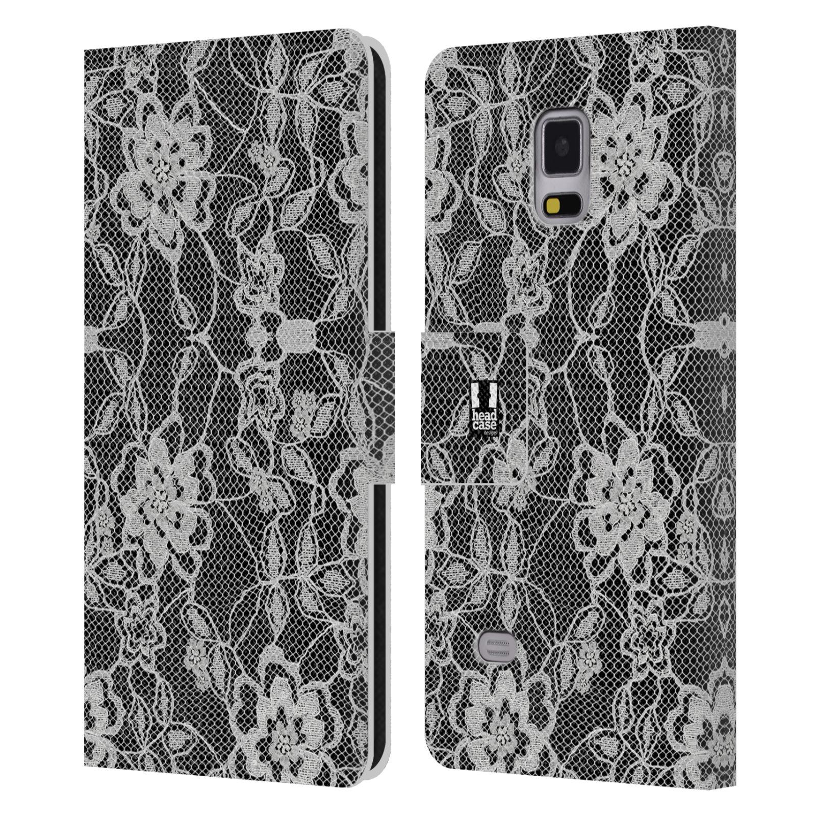 HEAD CASE Flipové pouzdro pro mobil Samsung Galaxy Note 4 ČERNOBÍLÁ KRAJKA květy