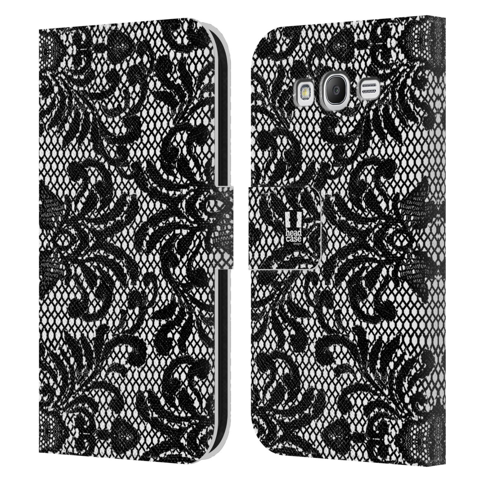HEAD CASE Flipové pouzdro pro mobil Samsung Galaxy Grand i9080 ČERNOBÍLÁ KRAJKA fontána baroko
