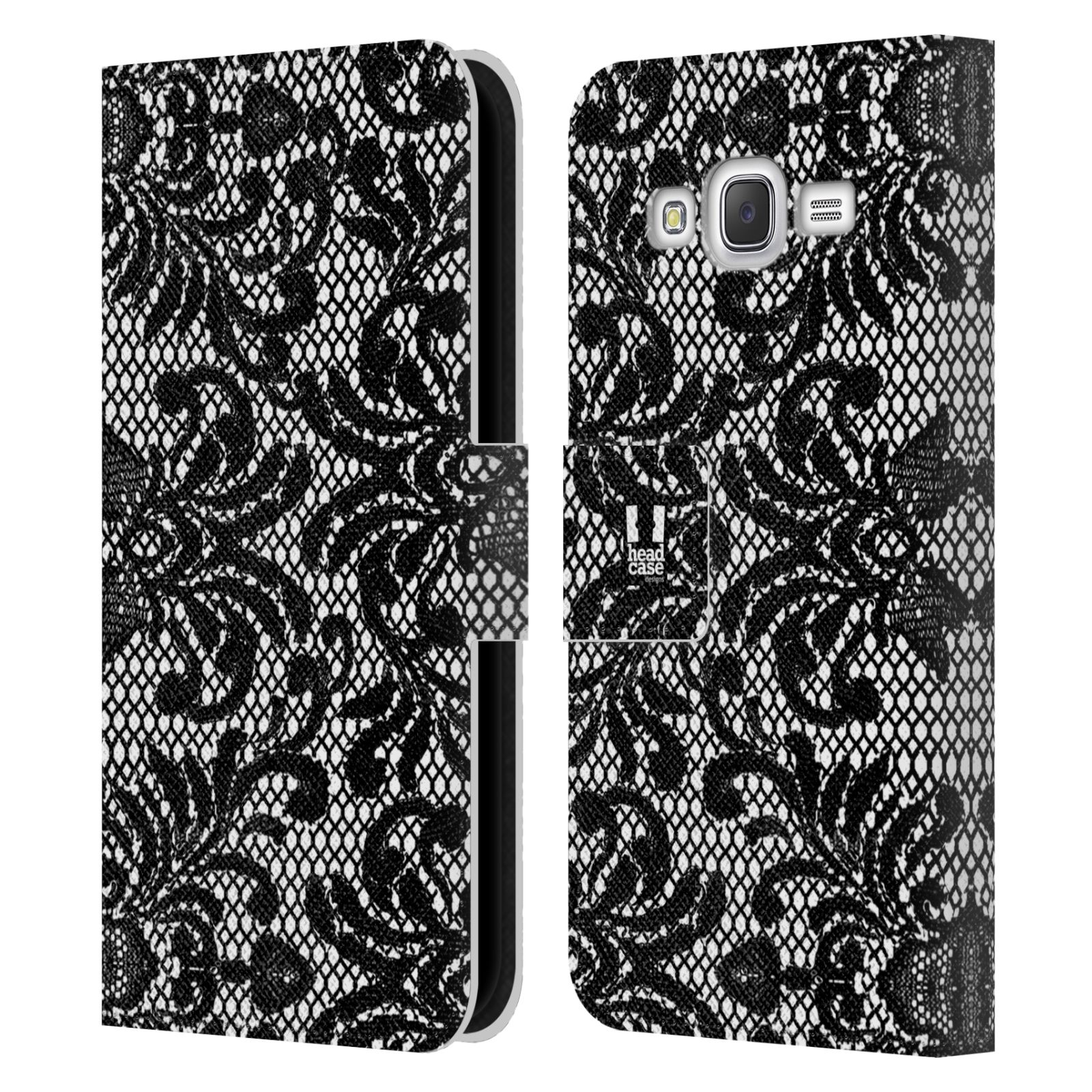 HEAD CASE Flipové pouzdro pro mobil Samsung Galaxy J5 (J500) / J5 DUOS ČERNOBÍLÁ KRAJKA fontána baroko