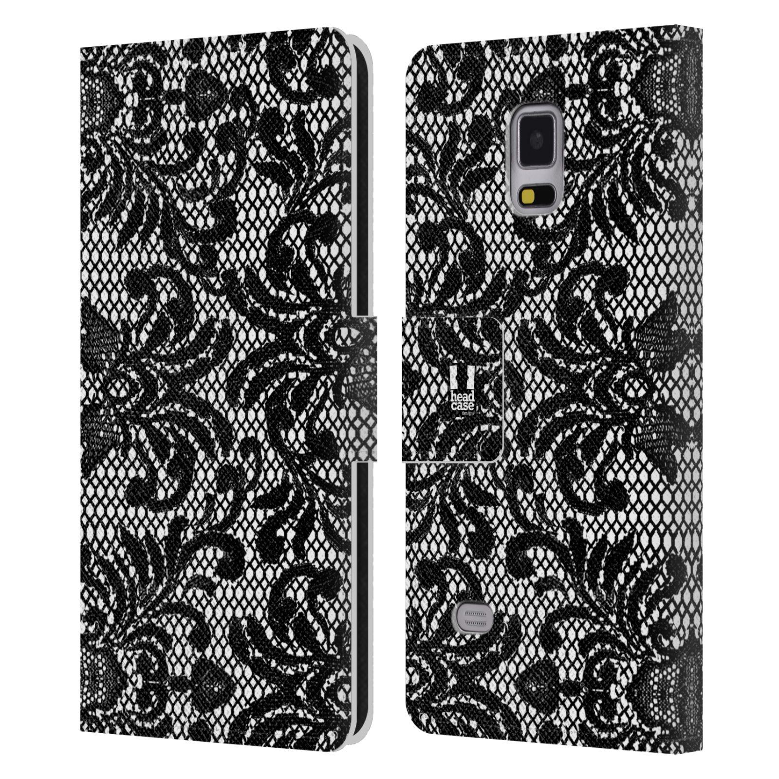 HEAD CASE Flipové pouzdro pro mobil Samsung Galaxy Note 4 ČERNOBÍLÁ KRAJKA fontána baroko