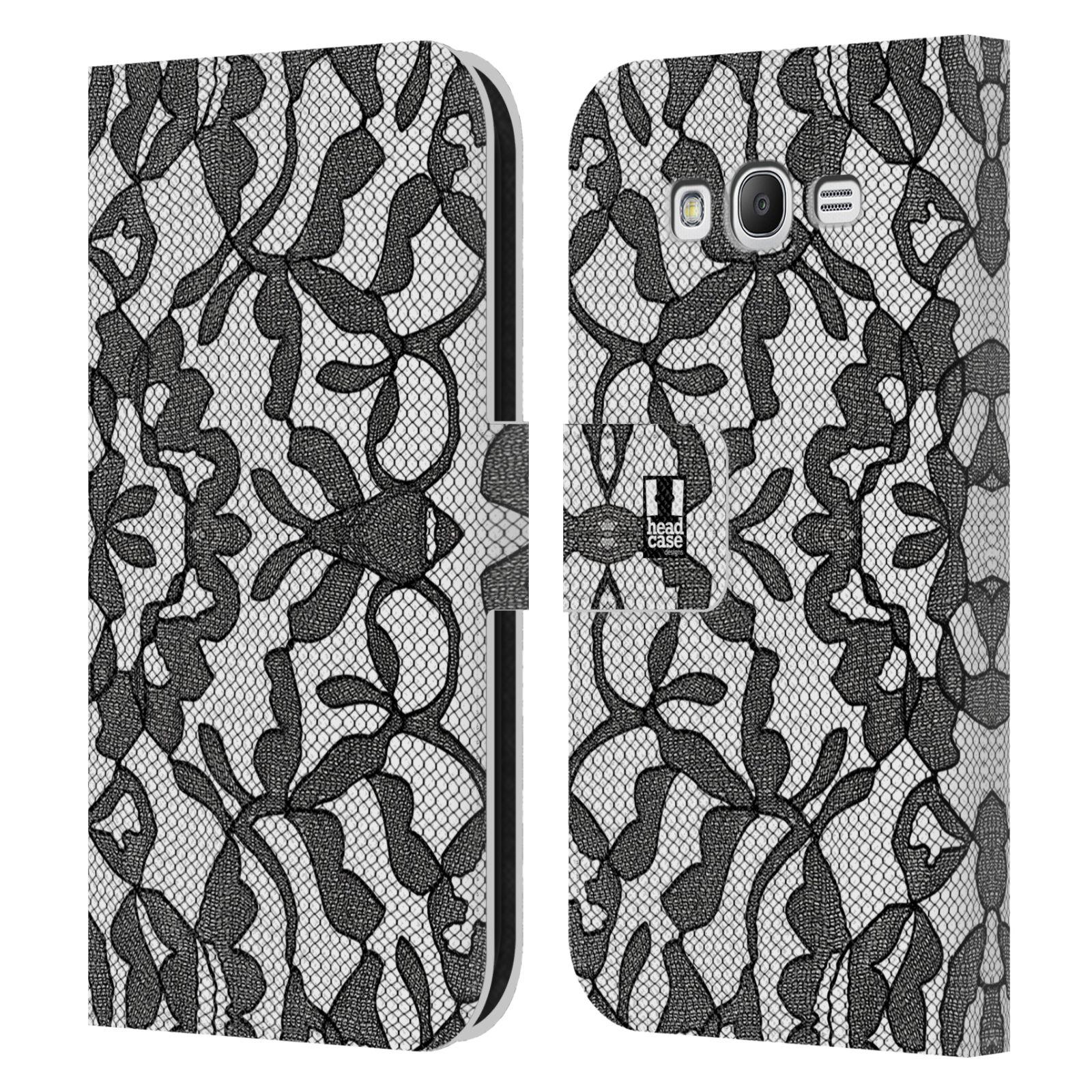 HEAD CASE Flipové pouzdro pro mobil Samsung Galaxy Grand i9080 ČERNOBÍLÁ KRAJKA lístečky
