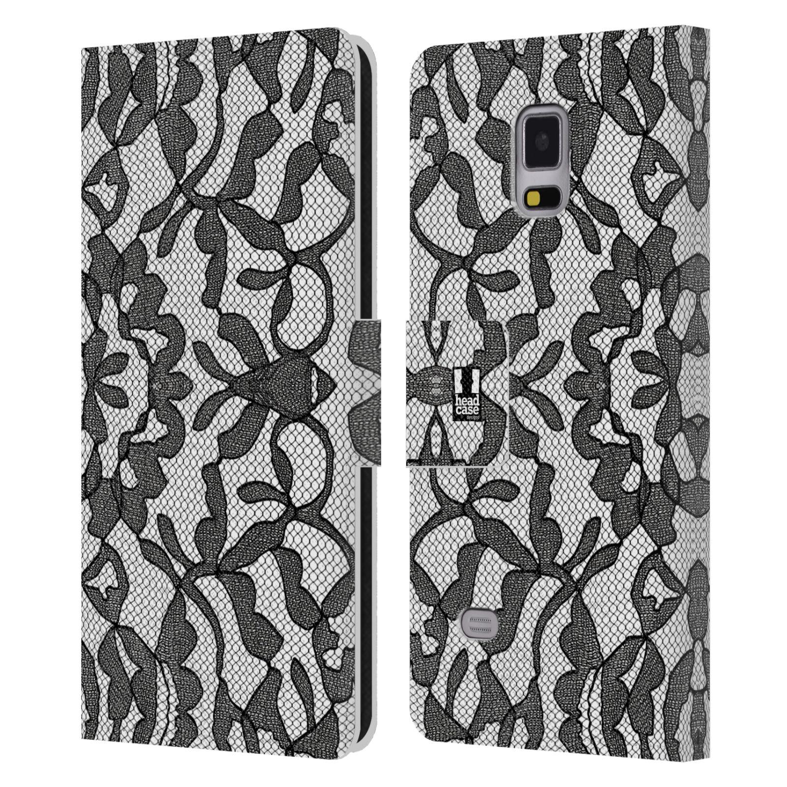 HEAD CASE Flipové pouzdro pro mobil Samsung Galaxy Note 4 ČERNOBÍLÁ KRAJKA lístečky