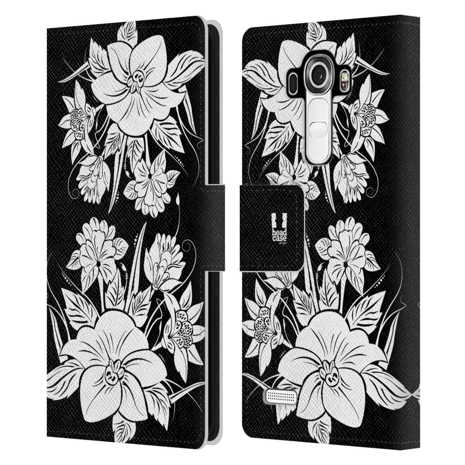 HEAD CASE Flipové pouzdro pro mobil LG G4 (H815) ČERNOBÍLÁ KVĚTINA pohádková zahrada