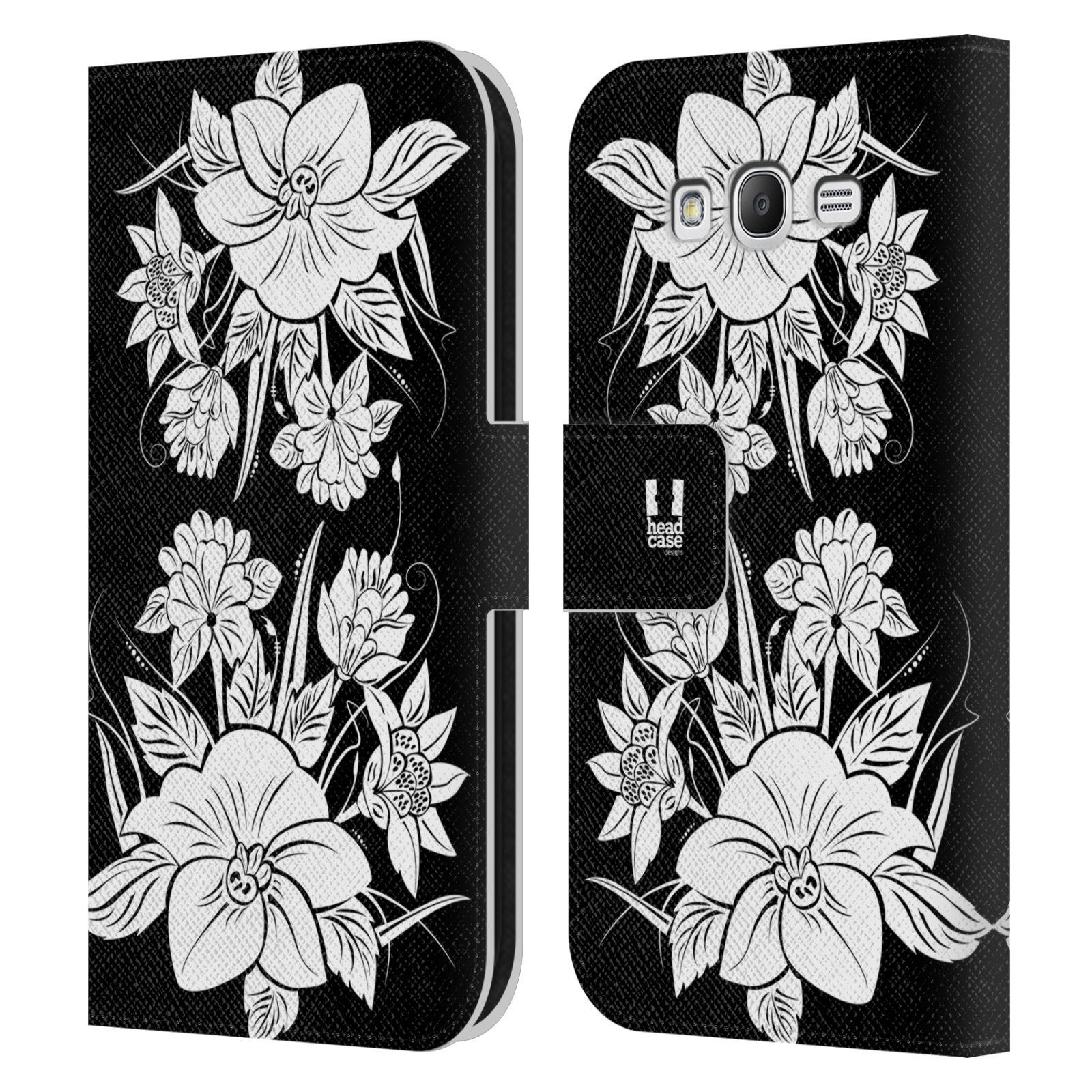 HEAD CASE Flipové pouzdro pro mobil Samsung Galaxy Grand i9080 ČERNOBÍLÁ KVĚTINA pohádková zahrada