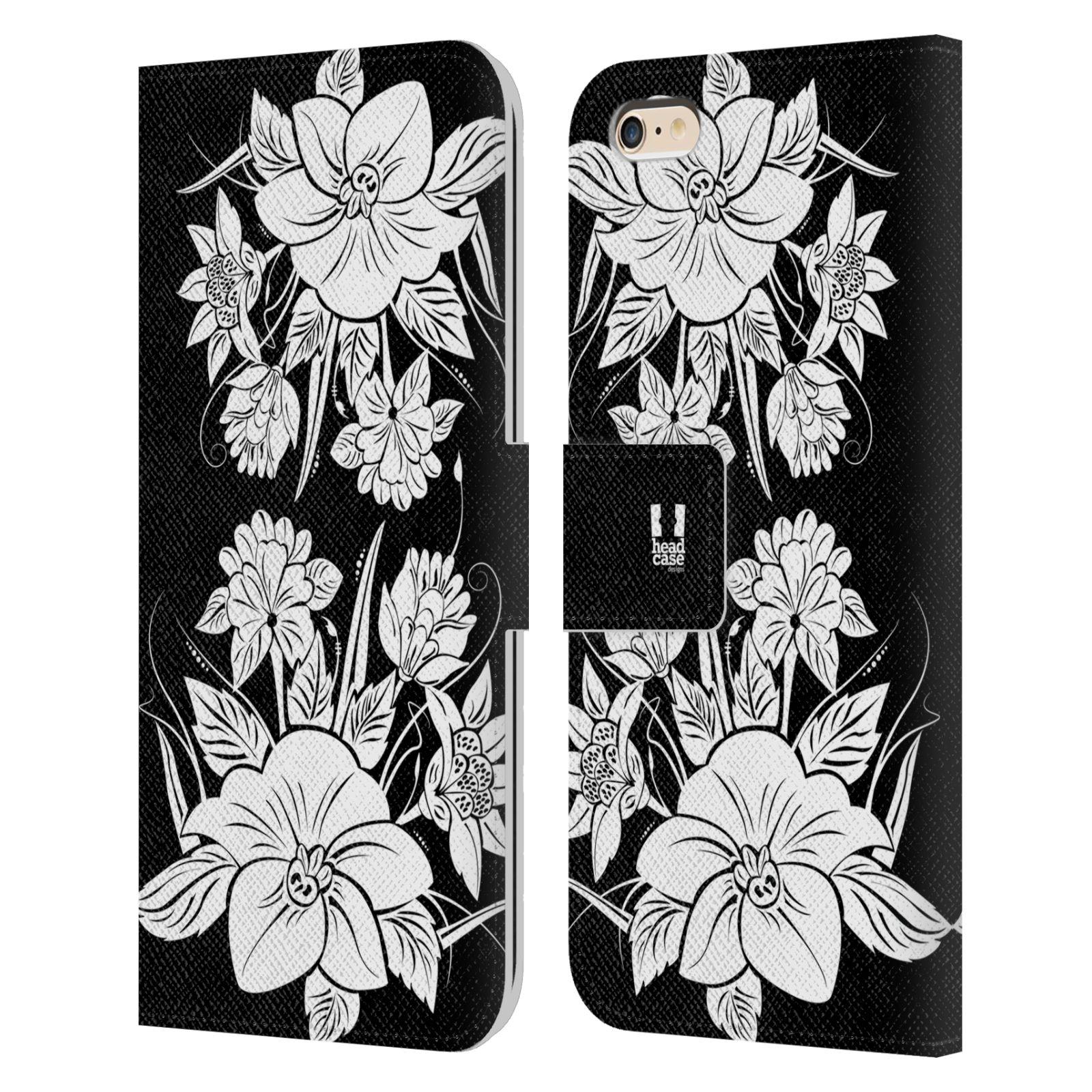 HEAD CASE Flipové pouzdro pro mobil Apple Iphone 6 PLUS / 6S PLUS ČERNOBÍLÁ KVĚTINA pohádková zahrada