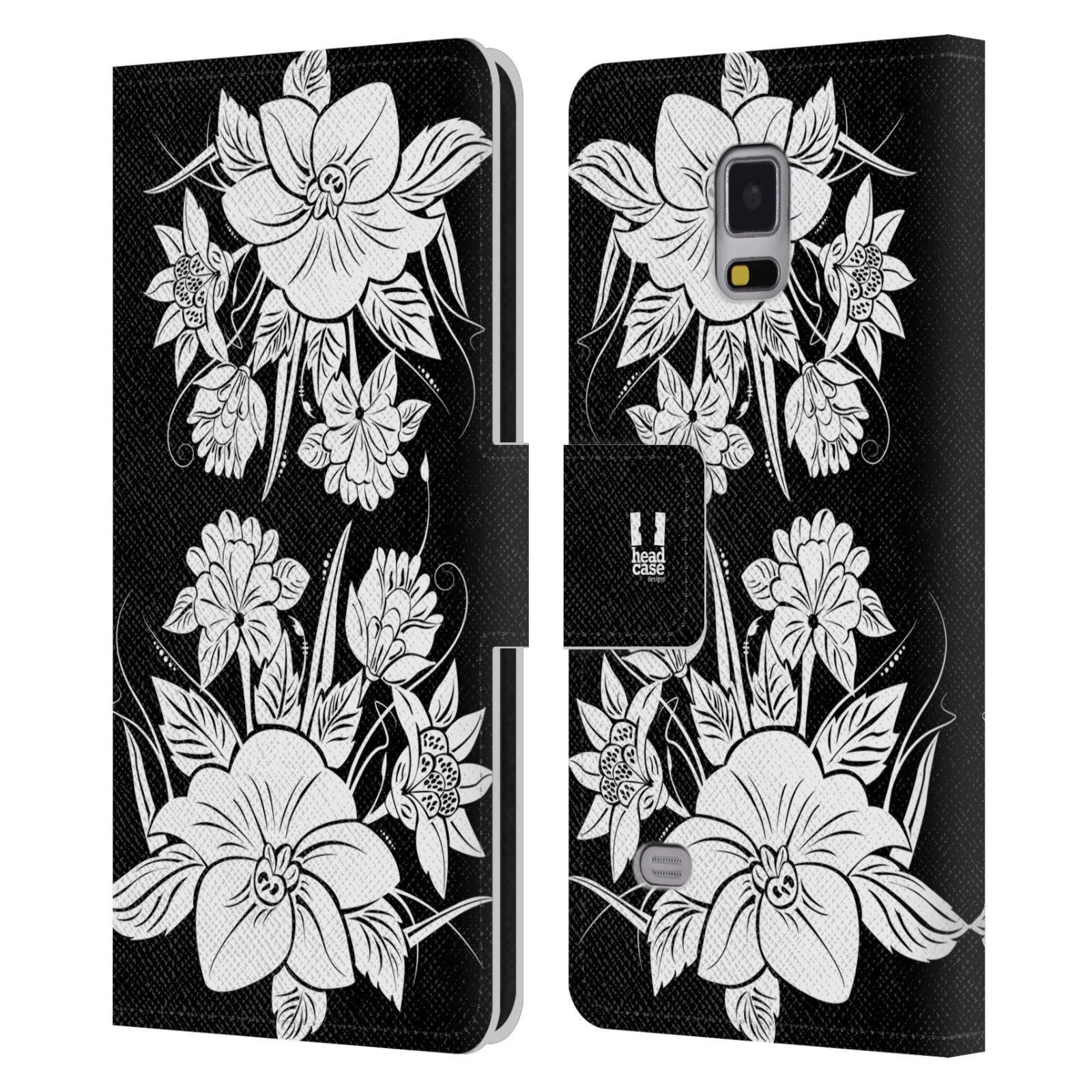 HEAD CASE Flipové pouzdro pro mobil Samsung Galaxy Note 4 ČERNOBÍLÁ KVĚTINA pohádková zahrada