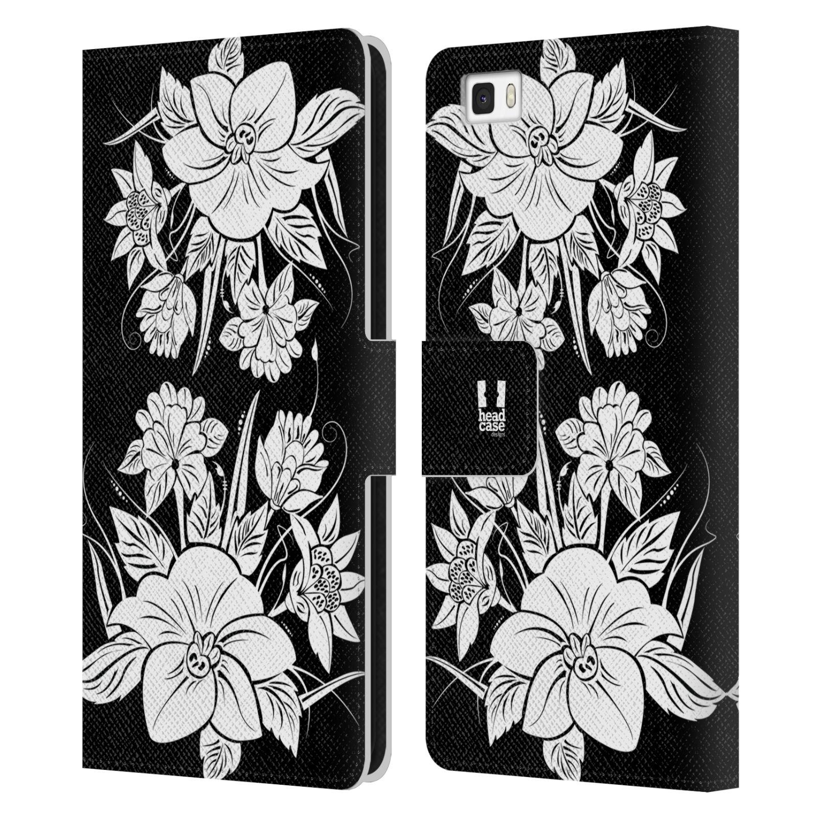 HEAD CASE Flipové pouzdro pro mobil Huawei P8 LITE ČERNOBÍLÁ KVĚTINA pohádková zahrada