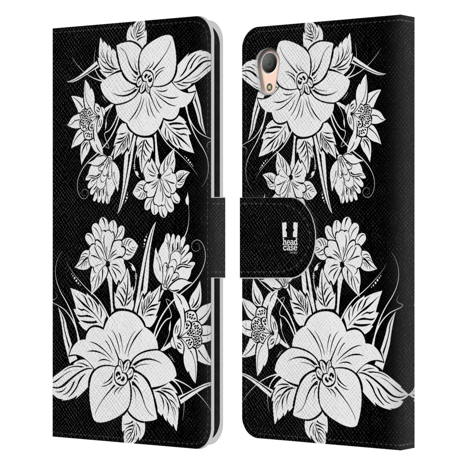 HEAD CASE Flipové pouzdro pro mobil SONY XPERIA Z3+ (PLUS) ČERNOBÍLÁ KVĚTINA pohádková zahrada