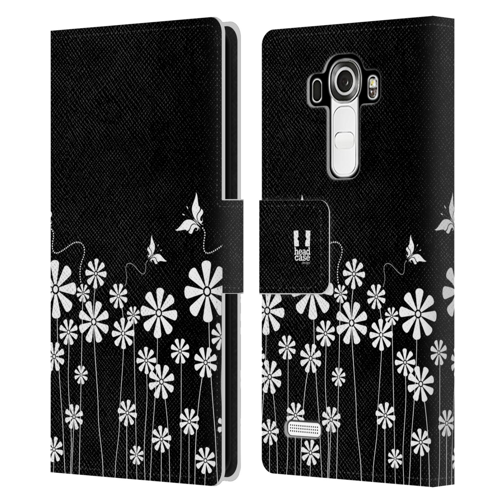 HEAD CASE Flipové pouzdro pro mobil LG G4 (H815) ČERNOBÍLÁ KVĚTINA motýl