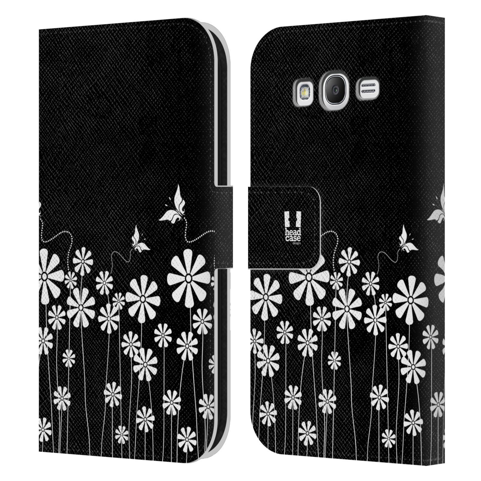 HEAD CASE Flipové pouzdro pro mobil Samsung Galaxy Grand i9080 ČERNOBÍLÁ KVĚTINA motýl