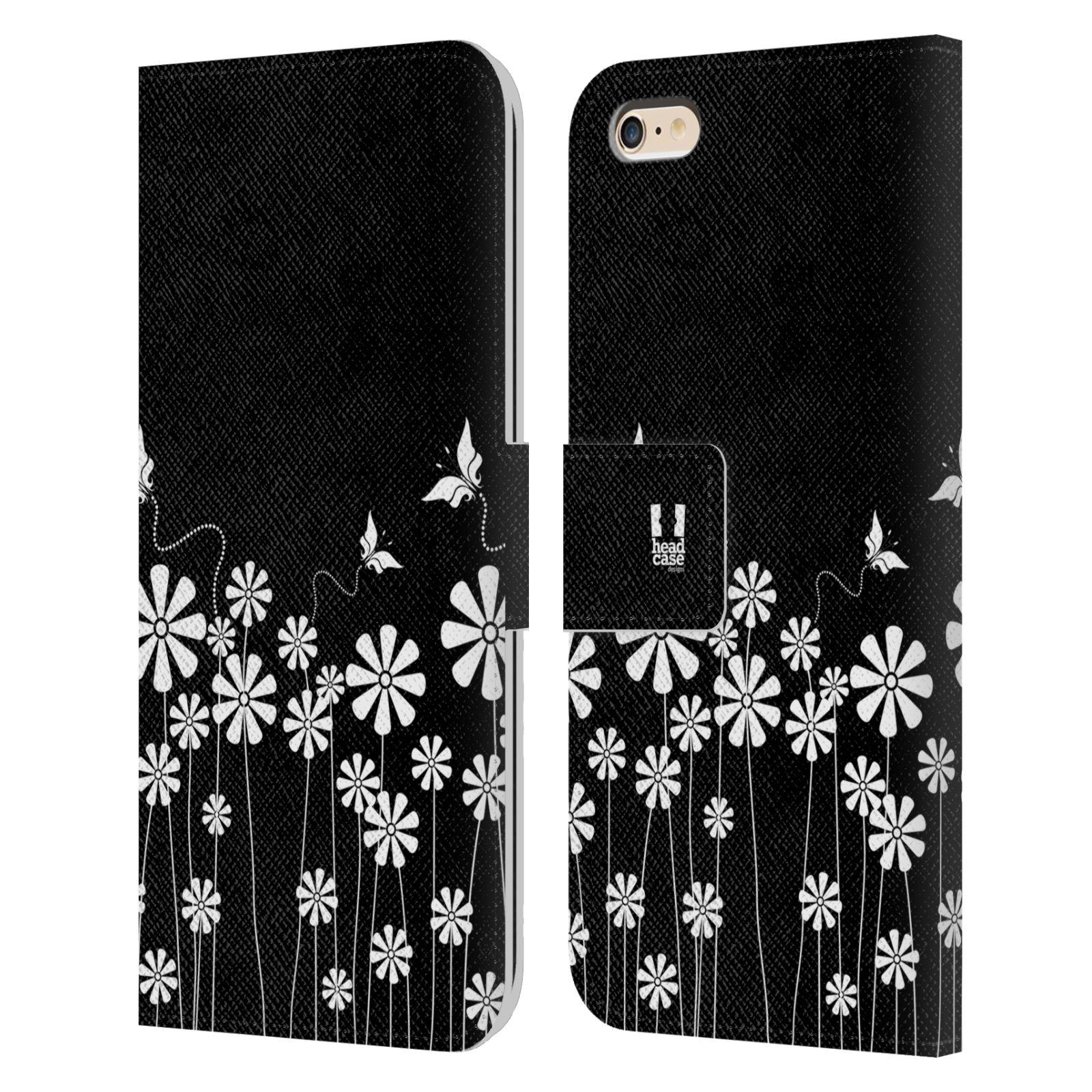 HEAD CASE Flipové pouzdro pro mobil Apple Iphone 6 PLUS / 6S PLUS ČERNOBÍLÁ KVĚTINA motýl