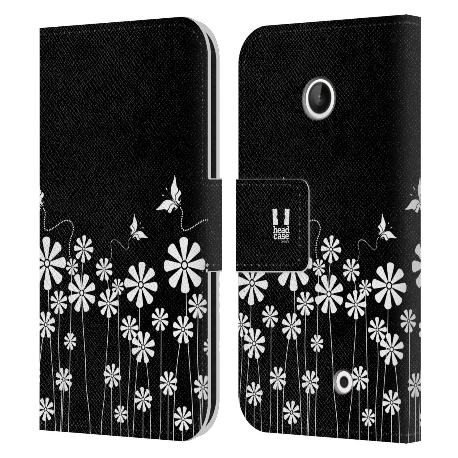 HEAD CASE Flipové pouzdro pro mobil NOKIA LUMIA 630 / LUMIA 630 DUAL ČERNOBÍLÁ KVĚTINA motýl