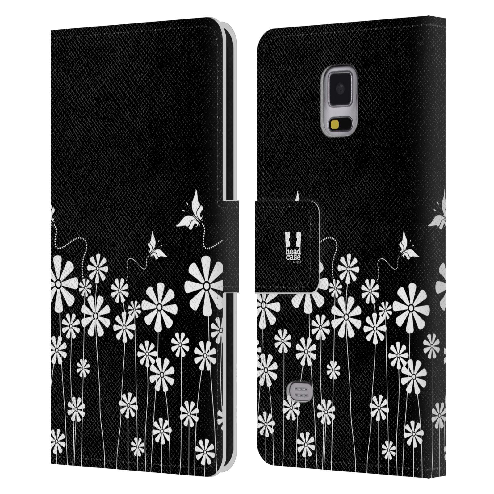 HEAD CASE Flipové pouzdro pro mobil Samsung Galaxy Note 4 ČERNOBÍLÁ KVĚTINA motýl