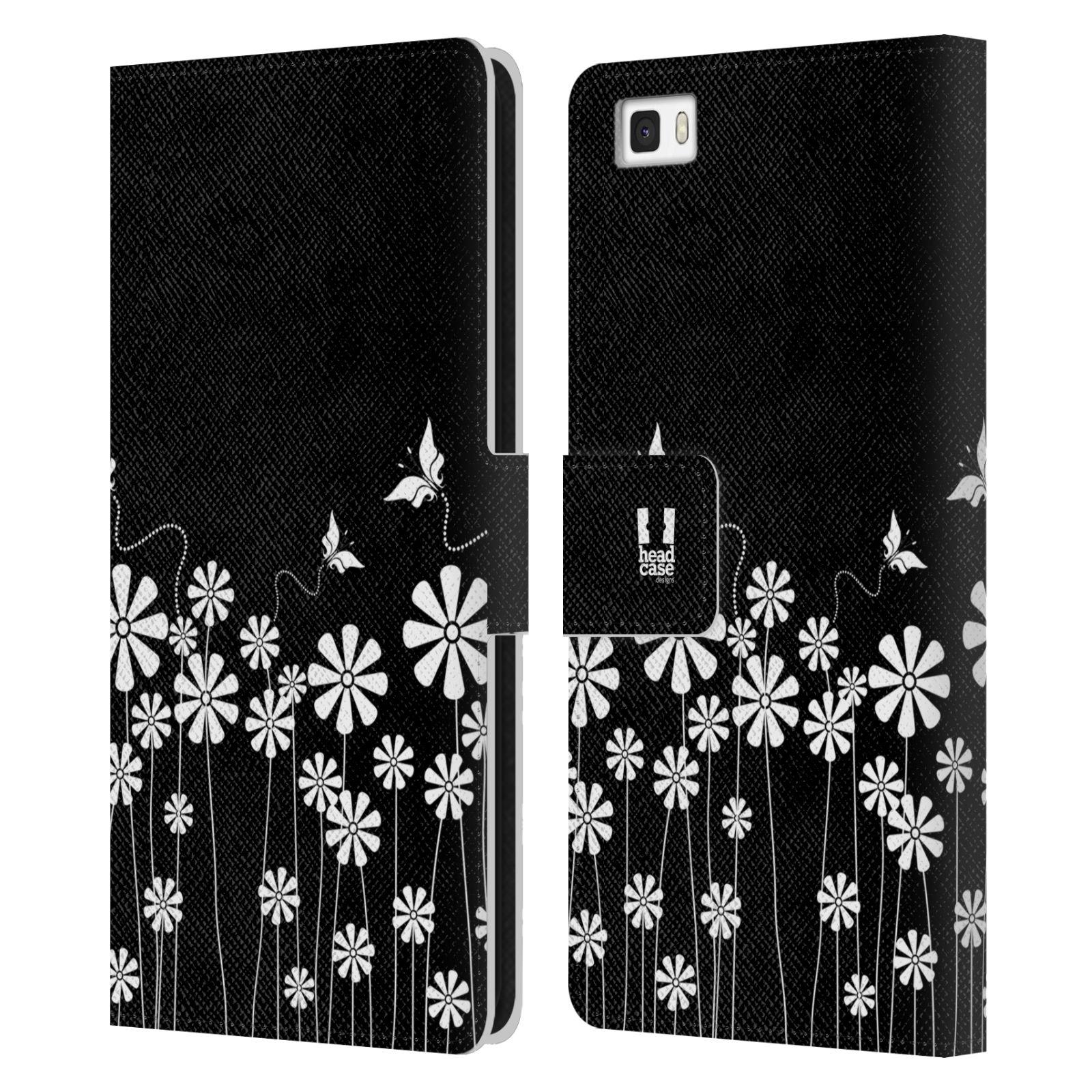 HEAD CASE Flipové pouzdro pro mobil Huawei P8 LITE ČERNOBÍLÁ KVĚTINA motýl