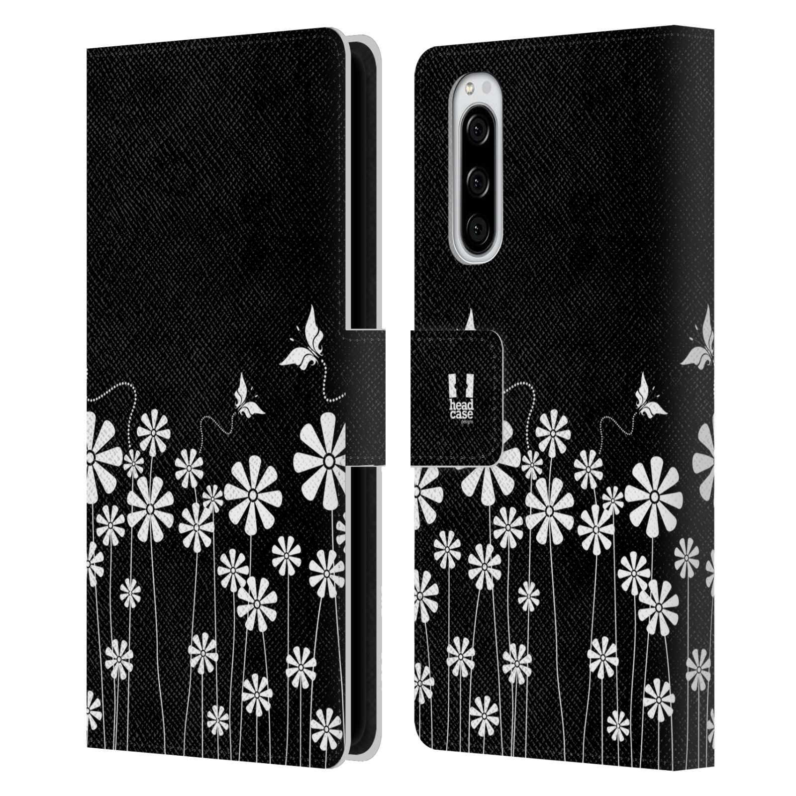 Pouzdro na mobil Sony Xperia 5 ČERNOBÍLÁ KVĚTINA motýl
