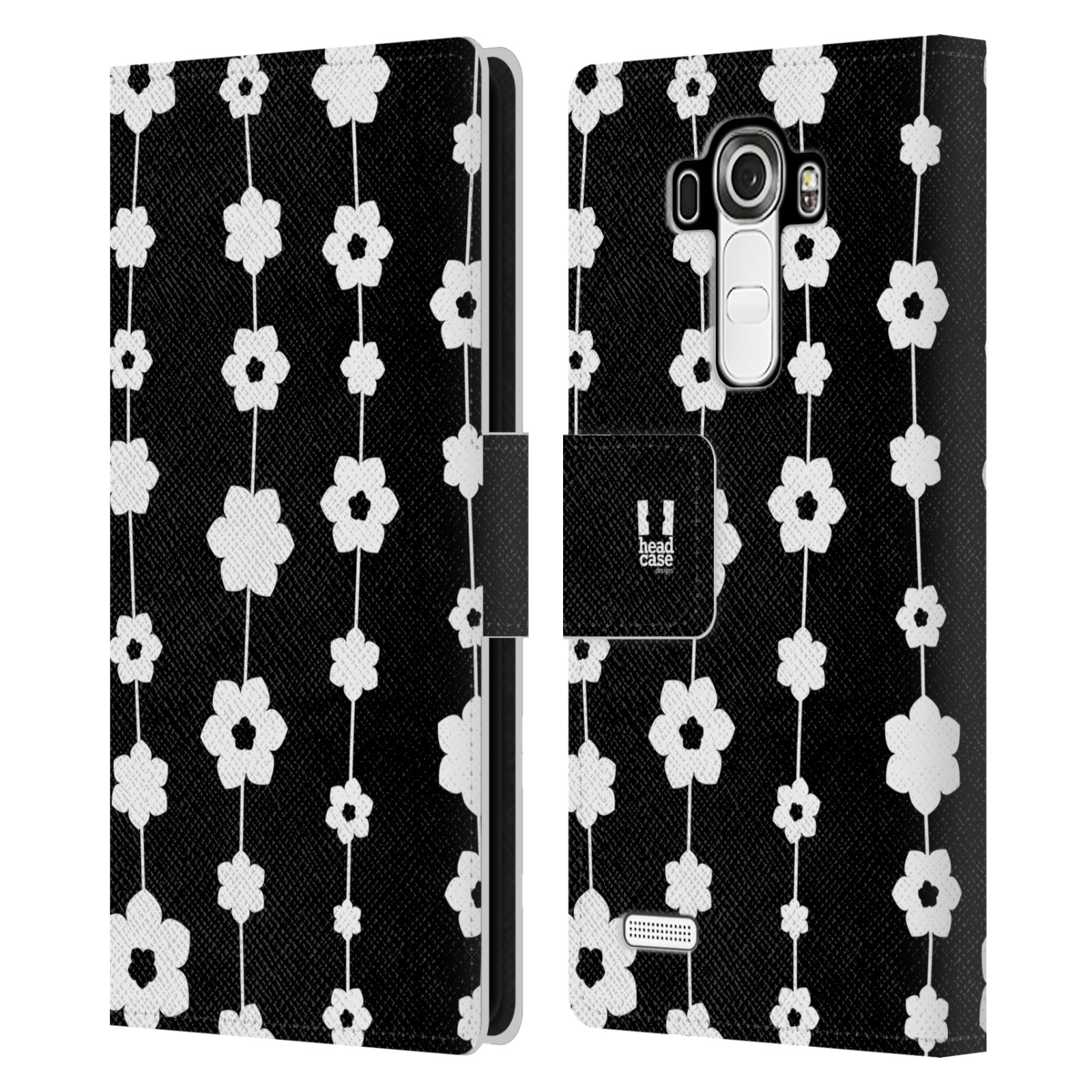 HEAD CASE Flipové pouzdro pro mobil LG G4 (H815) ČERNOBÍLÁ KVĚTINA řetězec