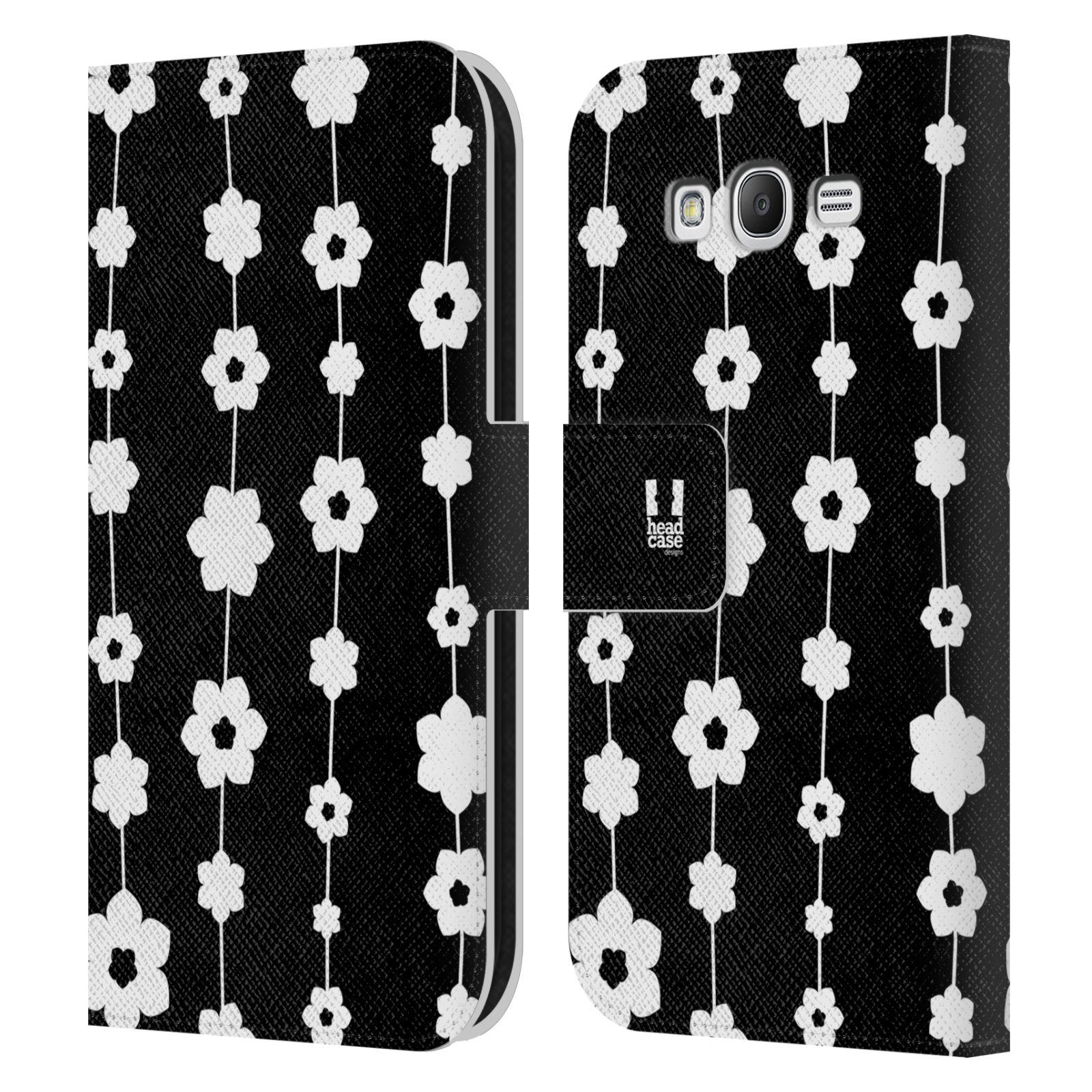 HEAD CASE Flipové pouzdro pro mobil Samsung Galaxy Grand i9080 ČERNOBÍLÁ KVĚTINA řetězec
