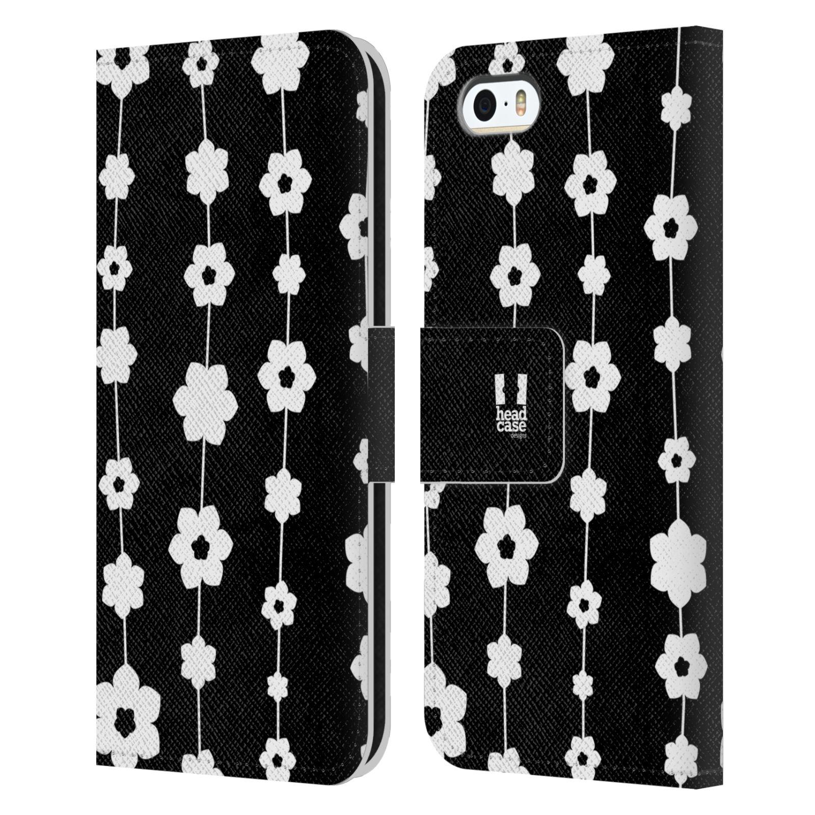 HEAD CASE Flipové pouzdro pro mobil Apple Iphone 5/5s ČERNOBÍLÁ KVĚTINA řetězec