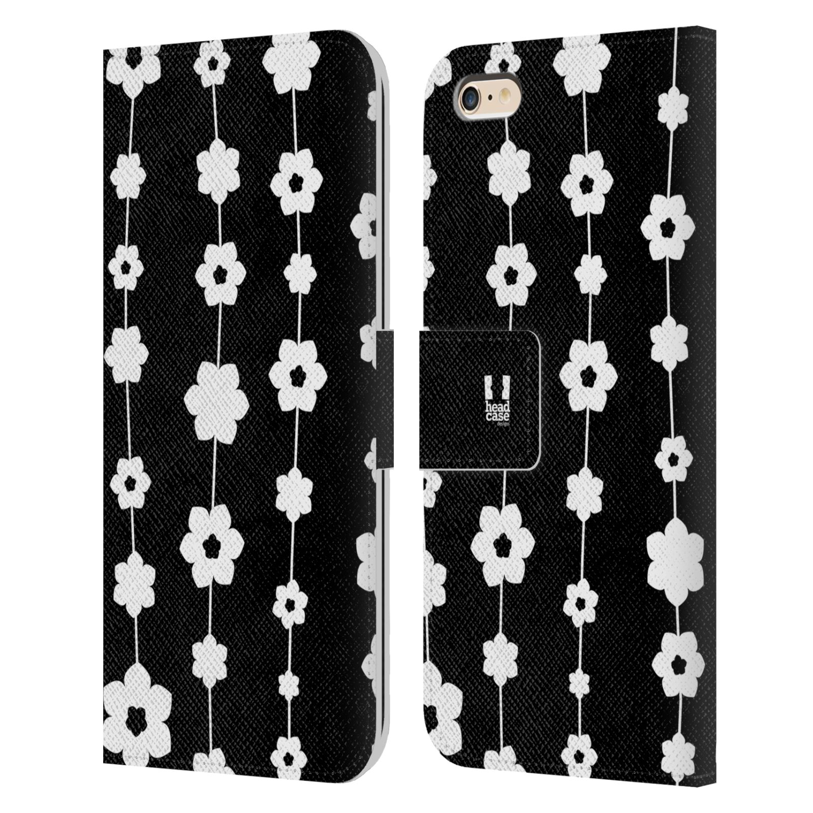 HEAD CASE Flipové pouzdro pro mobil Apple Iphone 6 PLUS / 6S PLUS ČERNOBÍLÁ KVĚTINA řetězec