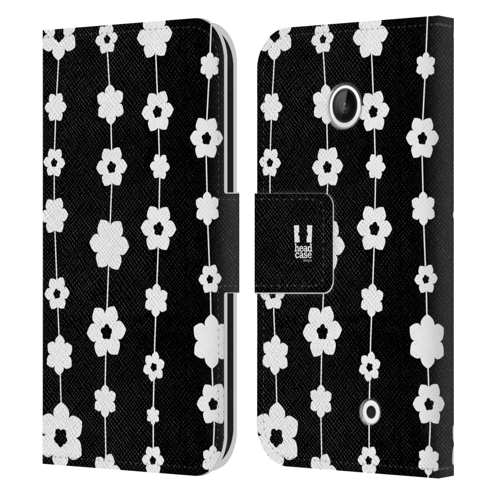 HEAD CASE Flipové pouzdro pro mobil NOKIA LUMIA 630 / LUMIA 630 DUAL ČERNOBÍLÁ KVĚTINA řetězec