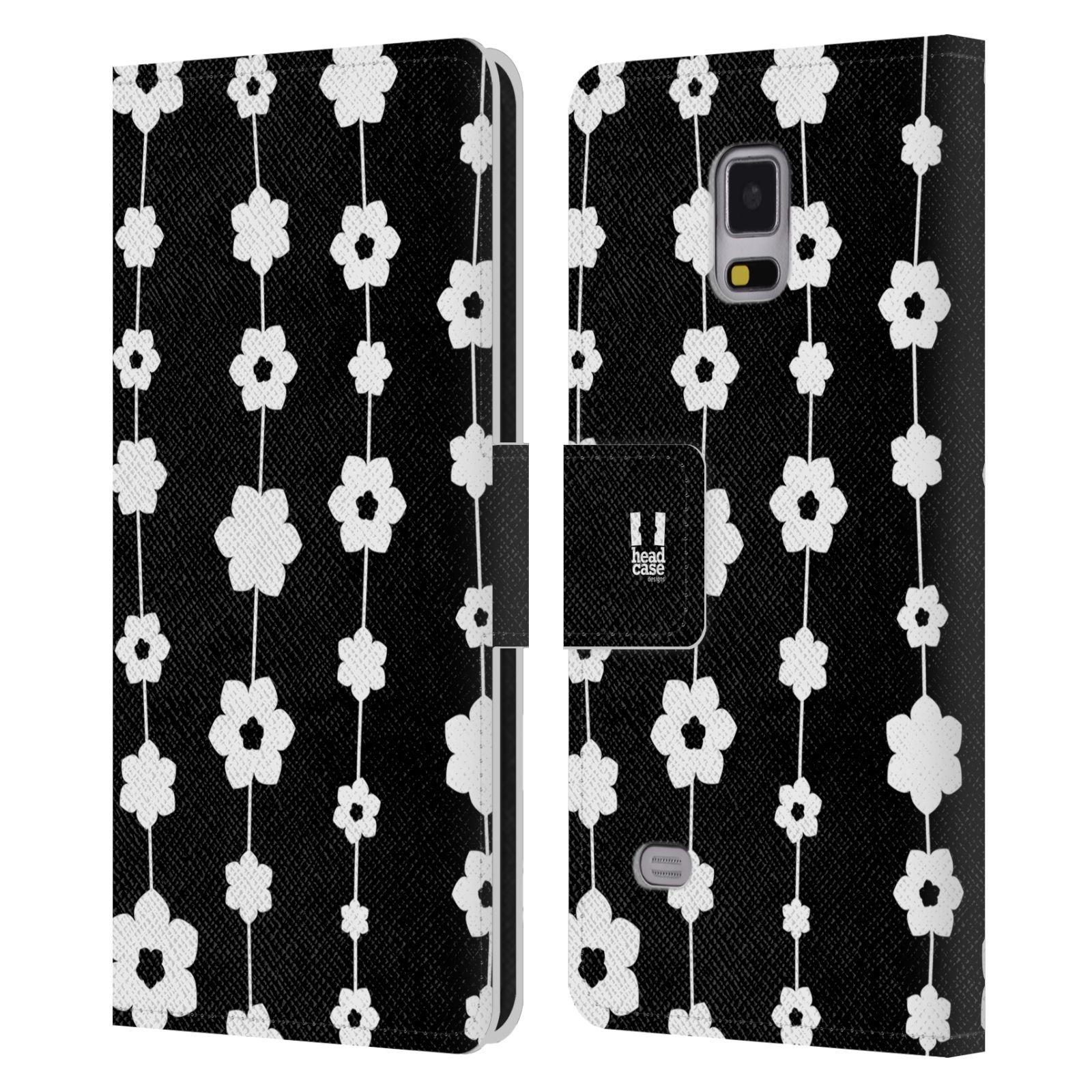 HEAD CASE Flipové pouzdro pro mobil Samsung Galaxy Note 4 ČERNOBÍLÁ KVĚTINA řetězec