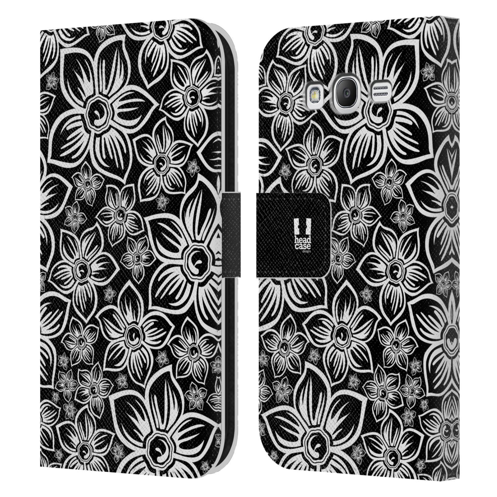 HEAD CASE Flipové pouzdro pro mobil Samsung Galaxy Grand i9080 ČERNOBÍLÁ KVĚTINA sedmikráska