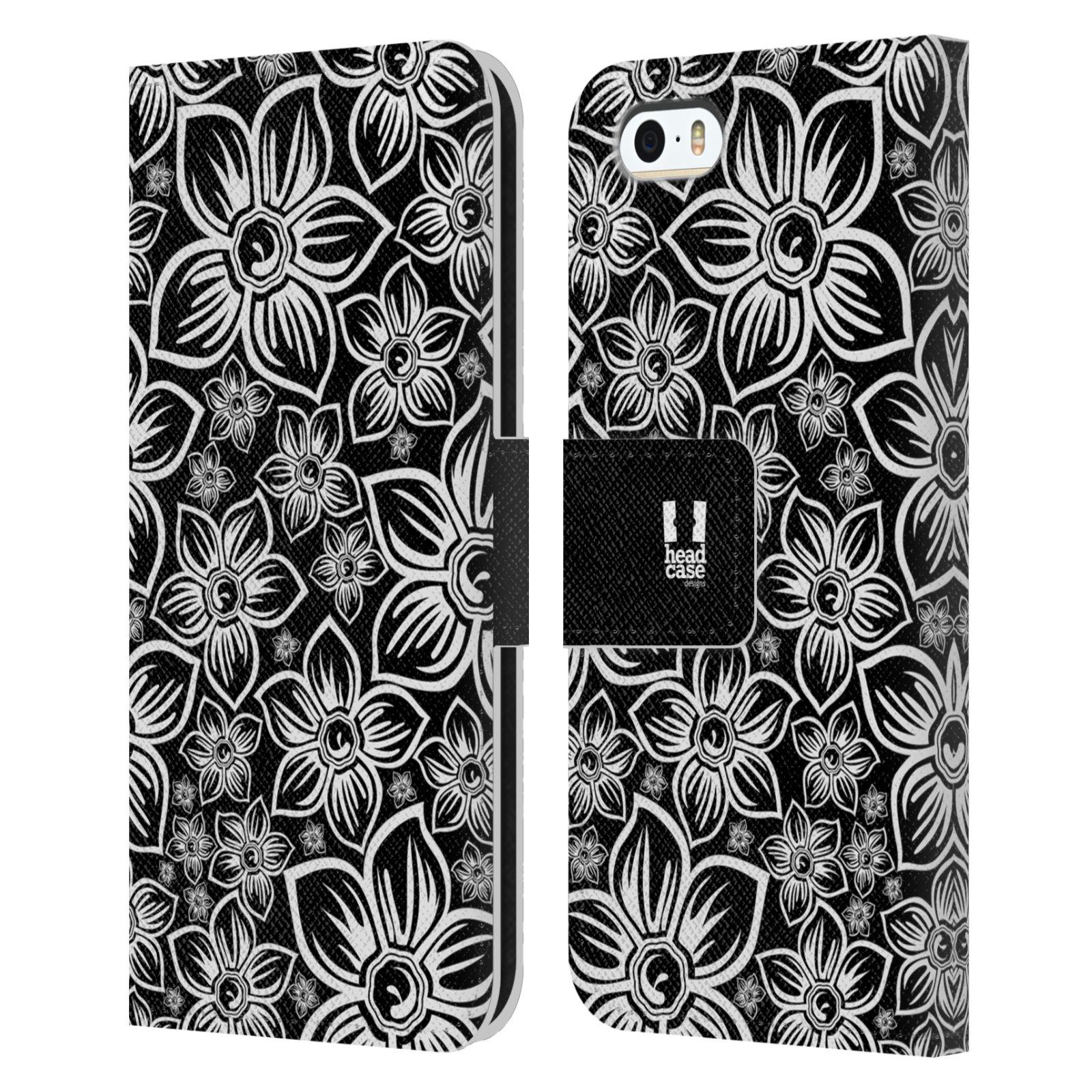 HEAD CASE Flipové pouzdro pro mobil Apple Iphone 5/5s ČERNOBÍLÁ KVĚTINA sedmikráska