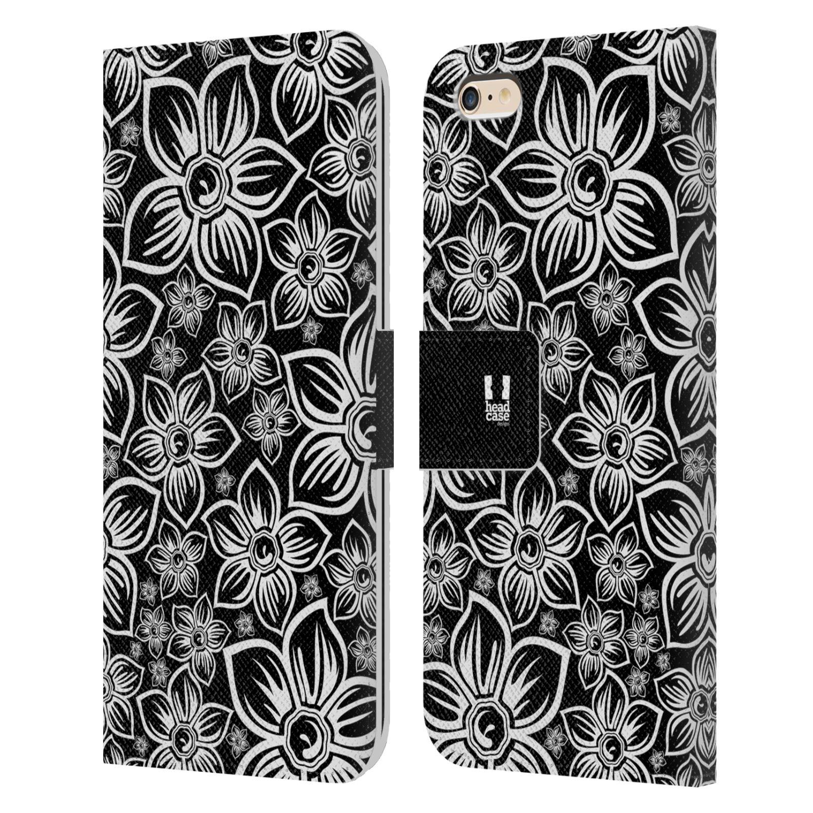 HEAD CASE Flipové pouzdro pro mobil Apple Iphone 6 PLUS / 6S PLUS ČERNOBÍLÁ KVĚTINA sedmikráska