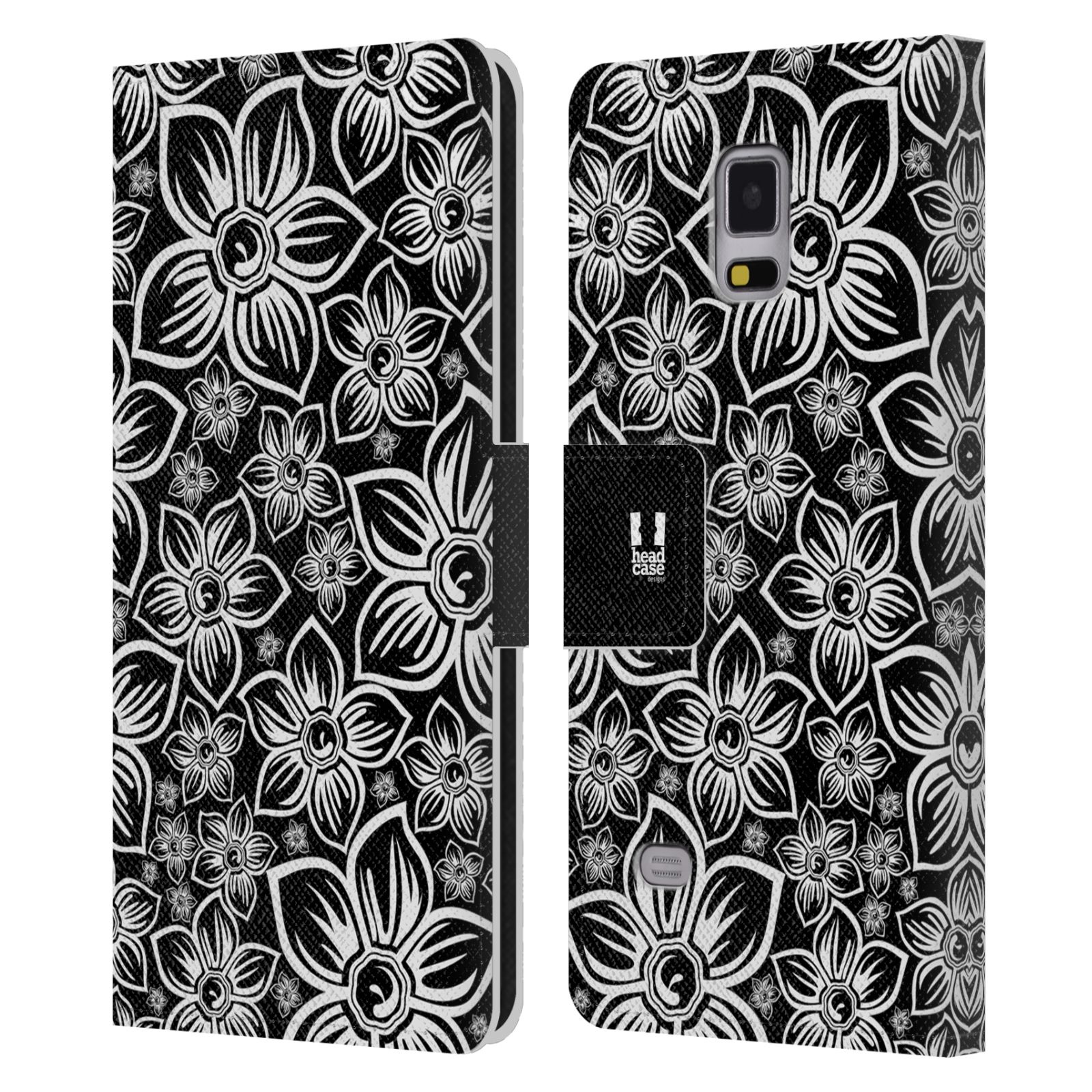 HEAD CASE Flipové pouzdro pro mobil Samsung Galaxy Note 4 ČERNOBÍLÁ KVĚTINA sedmikráska