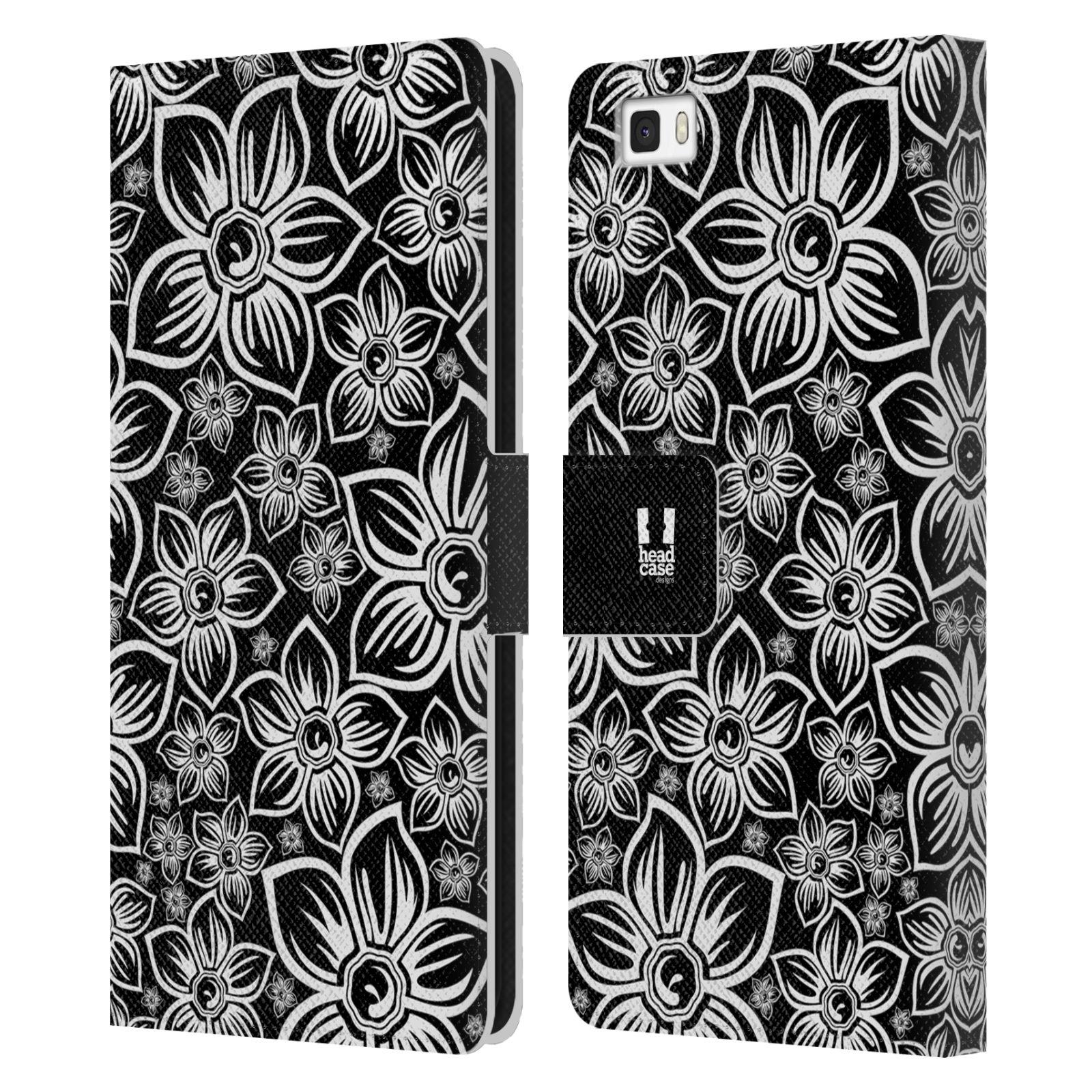 HEAD CASE Flipové pouzdro pro mobil Huawei P8 LITE ČERNOBÍLÁ KVĚTINA sedmikráska