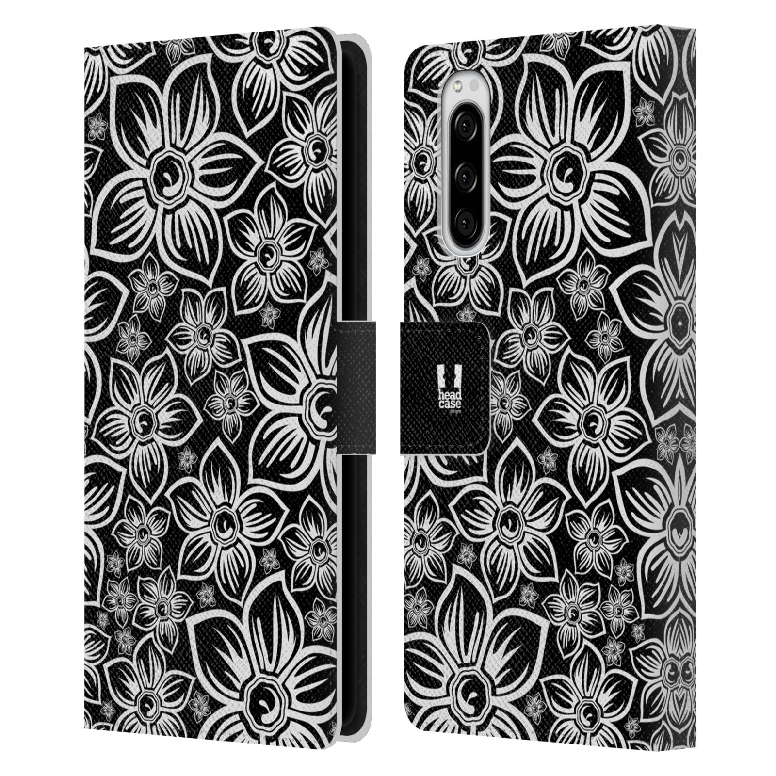 Pouzdro na mobil Sony Xperia 5 ČERNOBÍLÁ KVĚTINA sedmikráska