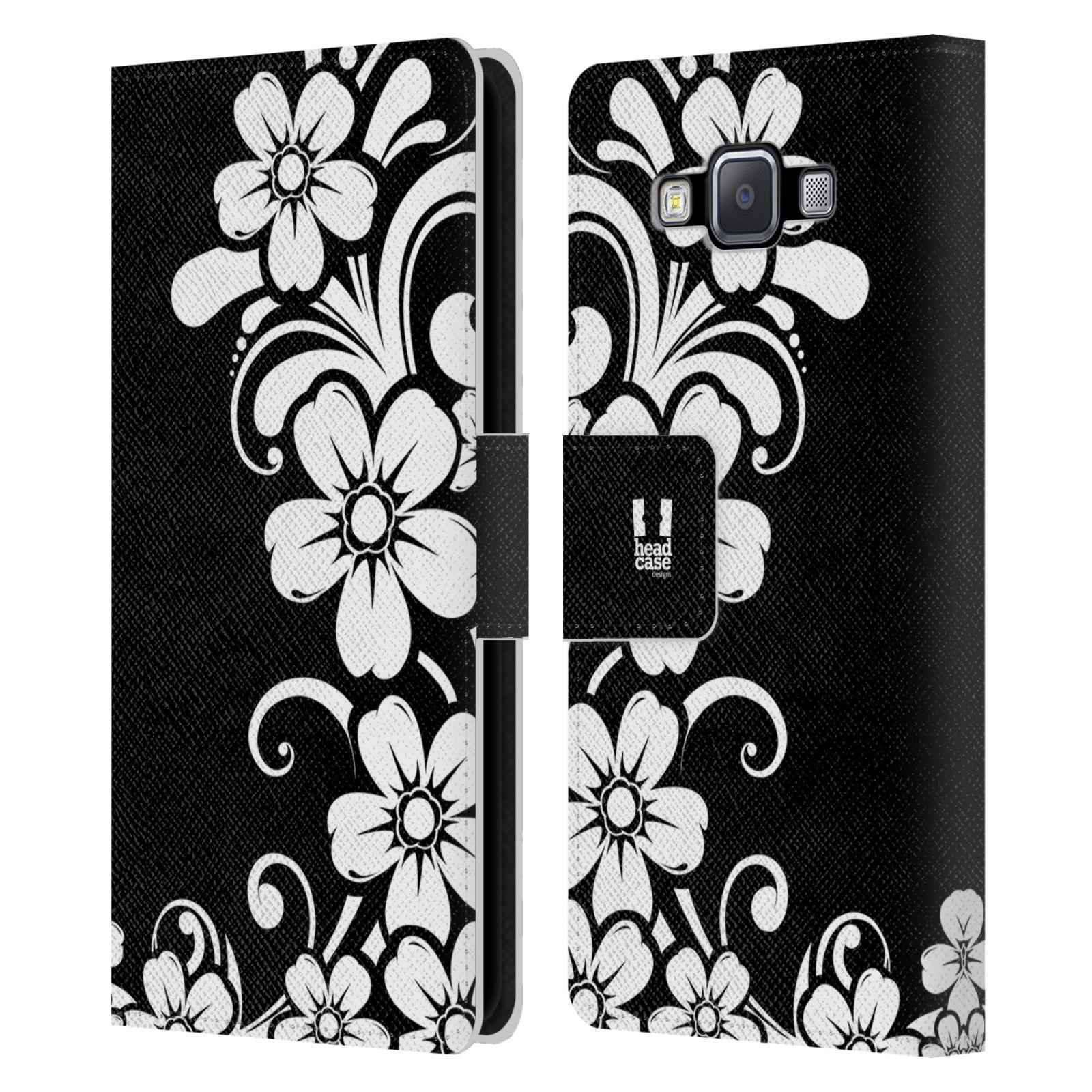 HEAD CASE Flipové pouzdro pro mobil Samsung Galaxy A5 ČERNOBÍLÁ KVĚTINA květ