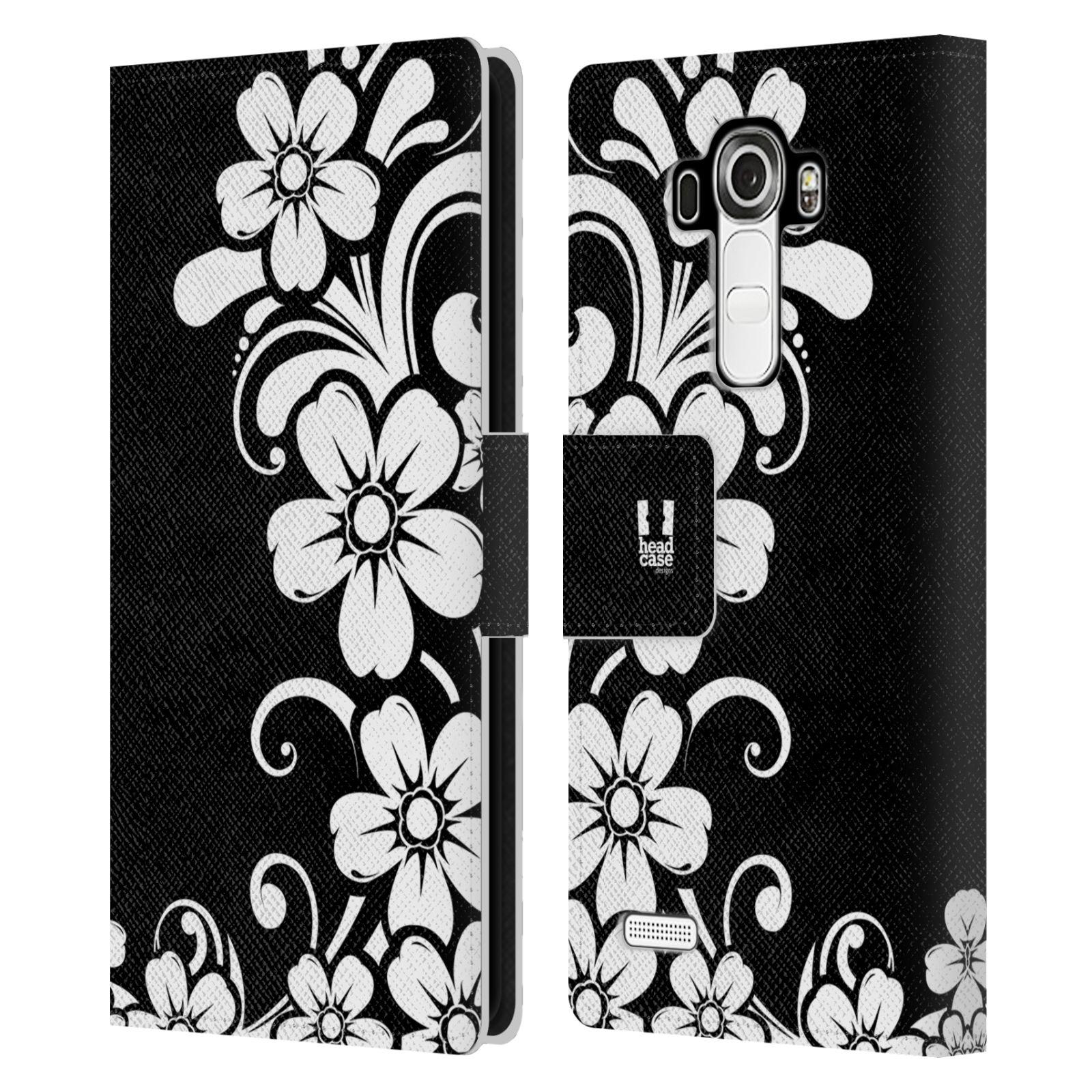 HEAD CASE Flipové pouzdro pro mobil LG G4 (H815) ČERNOBÍLÁ KVĚTINA květ