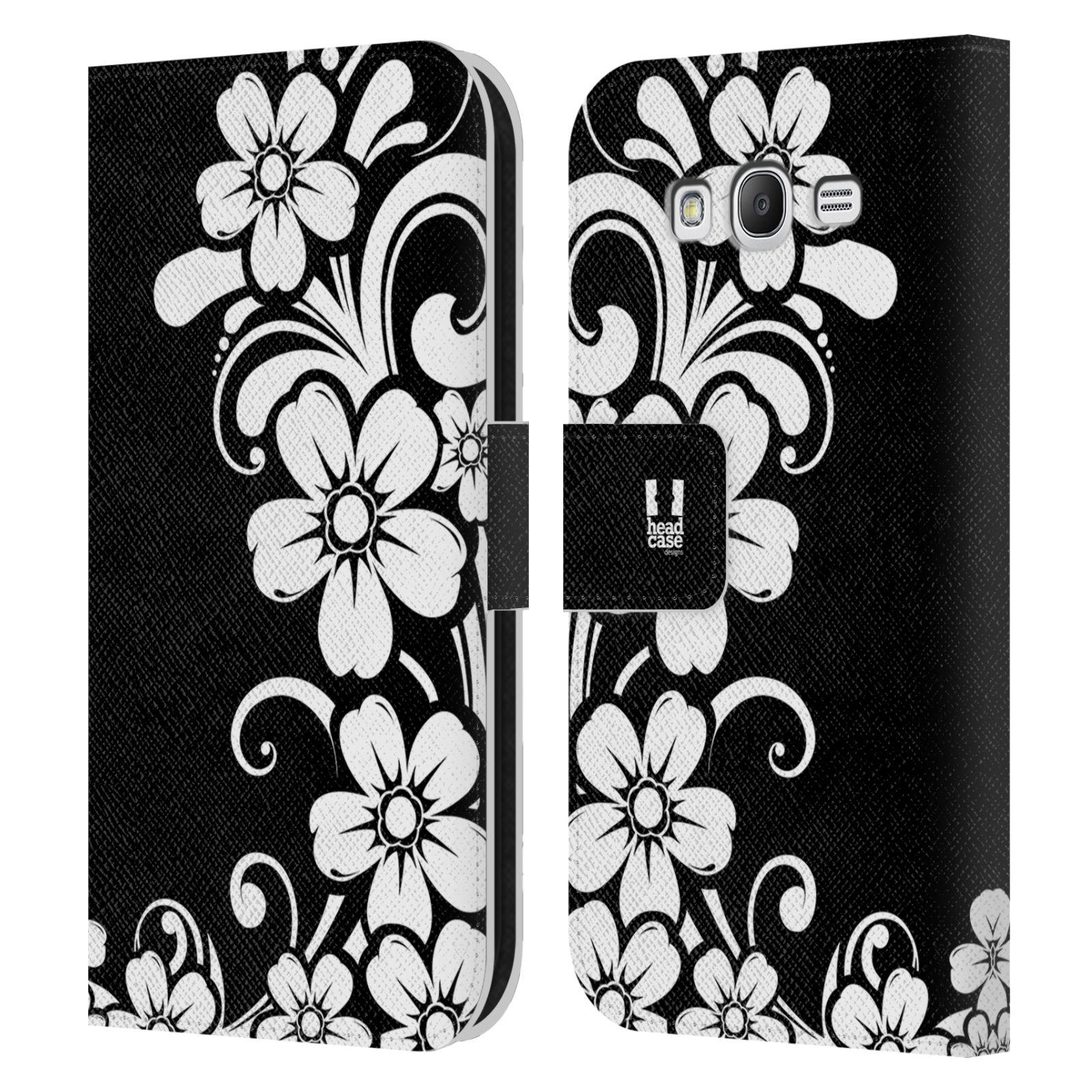 HEAD CASE Flipové pouzdro pro mobil Samsung Galaxy Grand i9080 ČERNOBÍLÁ KVĚTINA květ