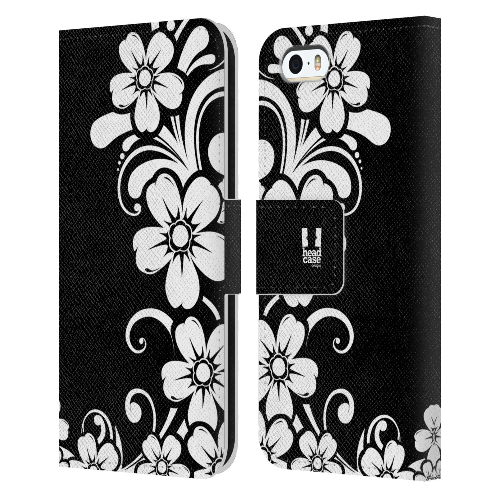HEAD CASE Flipové pouzdro pro mobil Apple Iphone 5/5s ČERNOBÍLÁ KVĚTINA květ