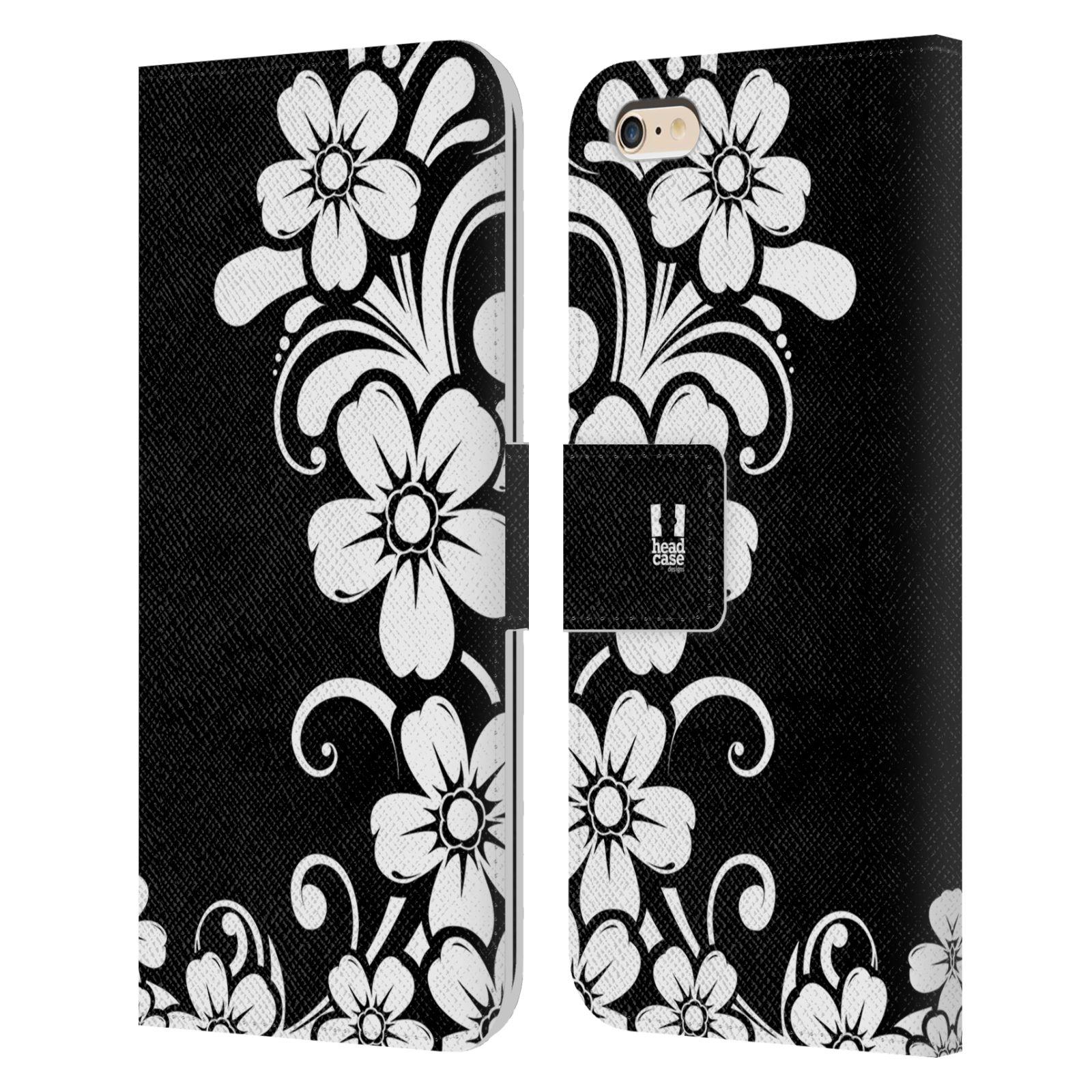 HEAD CASE Flipové pouzdro pro mobil Apple Iphone 6 PLUS / 6S PLUS ČERNOBÍLÁ KVĚTINA květ