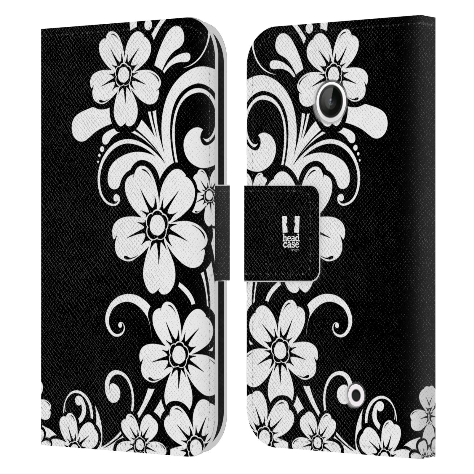 HEAD CASE Flipové pouzdro pro mobil NOKIA LUMIA 630 / LUMIA 630 DUAL ČERNOBÍLÁ KVĚTINA květ