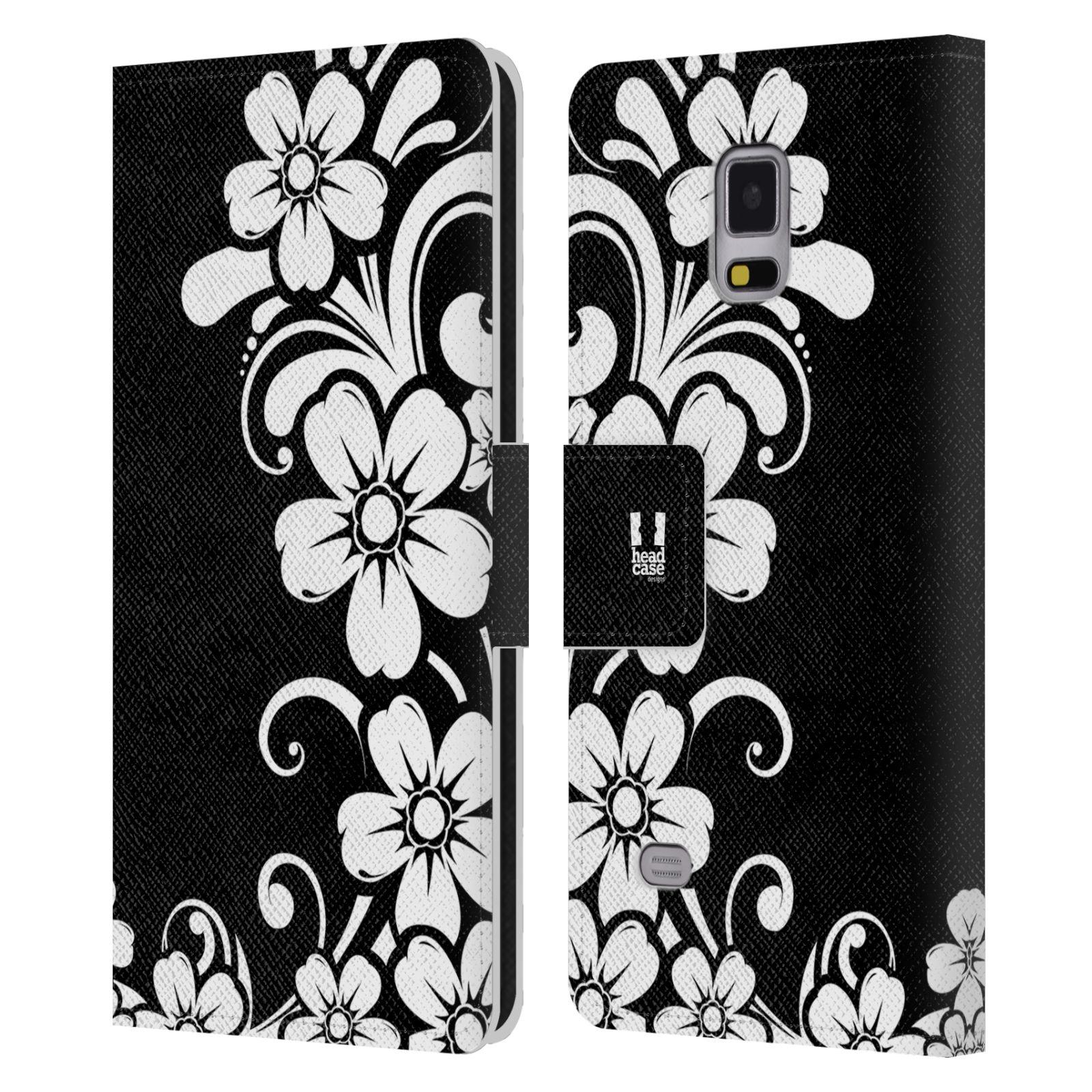 HEAD CASE Flipové pouzdro pro mobil Samsung Galaxy Note 4 ČERNOBÍLÁ KVĚTINA květ