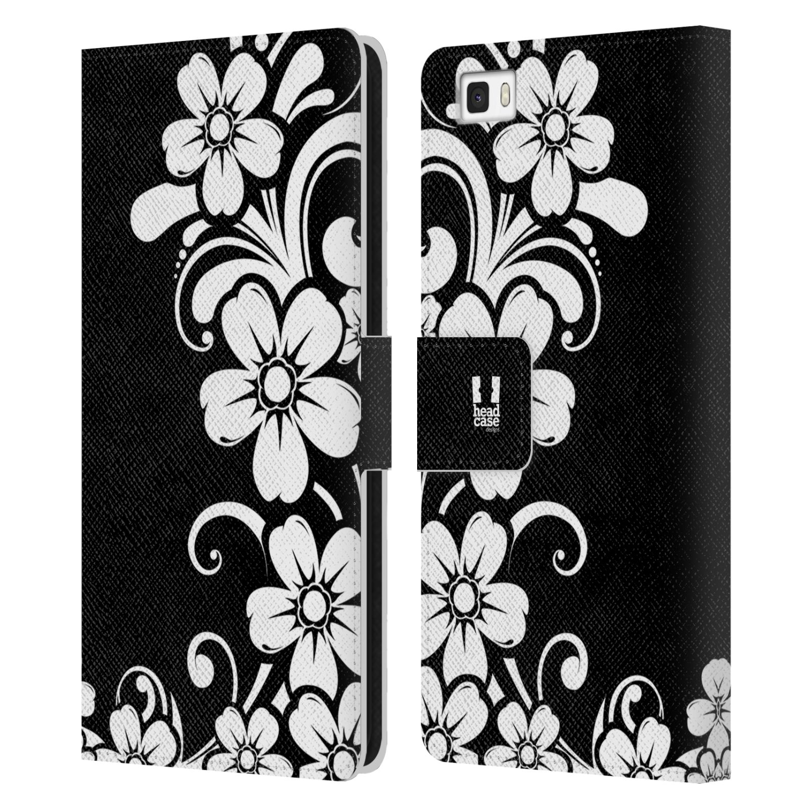 HEAD CASE Flipové pouzdro pro mobil Huawei P8 LITE ČERNOBÍLÁ KVĚTINA květ