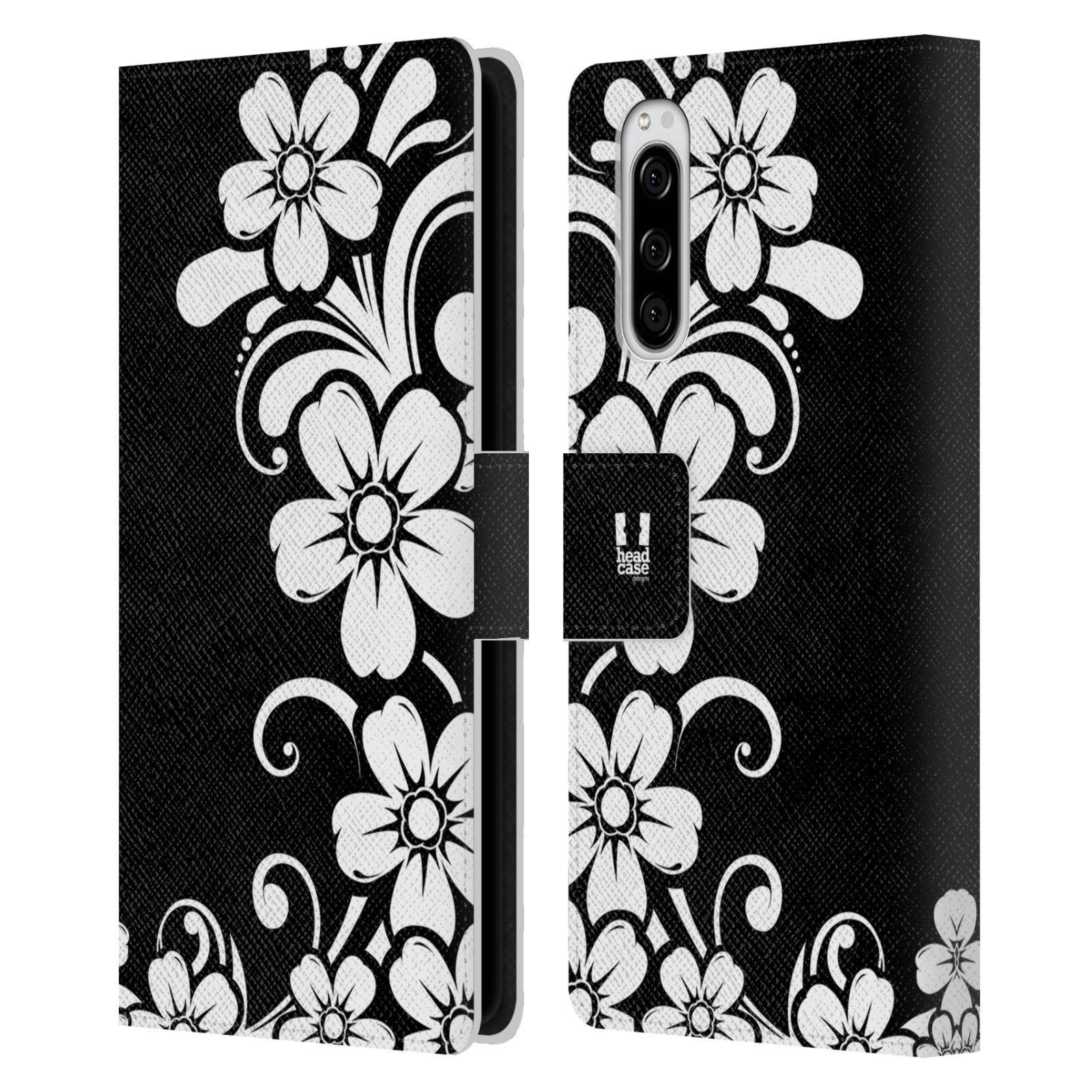 Pouzdro na mobil Sony Xperia 5 ČERNOBÍLÁ KVĚTINA květ