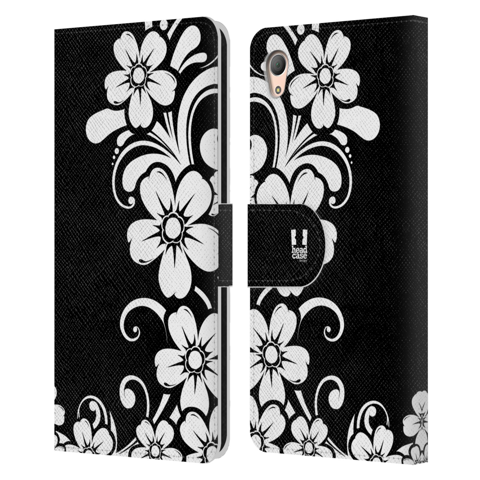 HEAD CASE Flipové pouzdro pro mobil SONY XPERIA Z3+ (PLUS) ČERNOBÍLÁ KVĚTINA květ