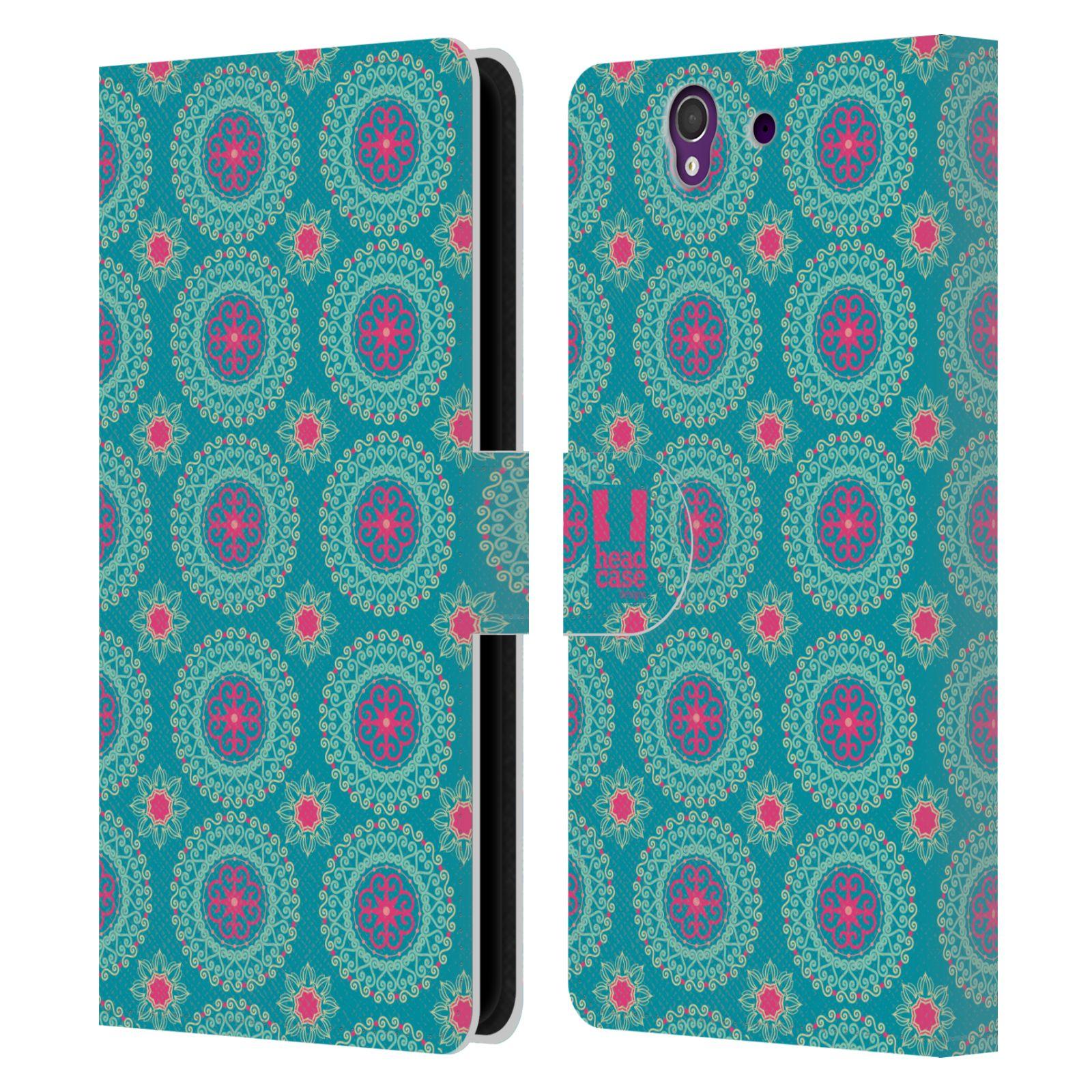 HEAD CASE Flipové pouzdro pro mobil SONY XPERIA Z (C6603) Slovanský vzor modrá/tyrkysová barva kaleidoskop