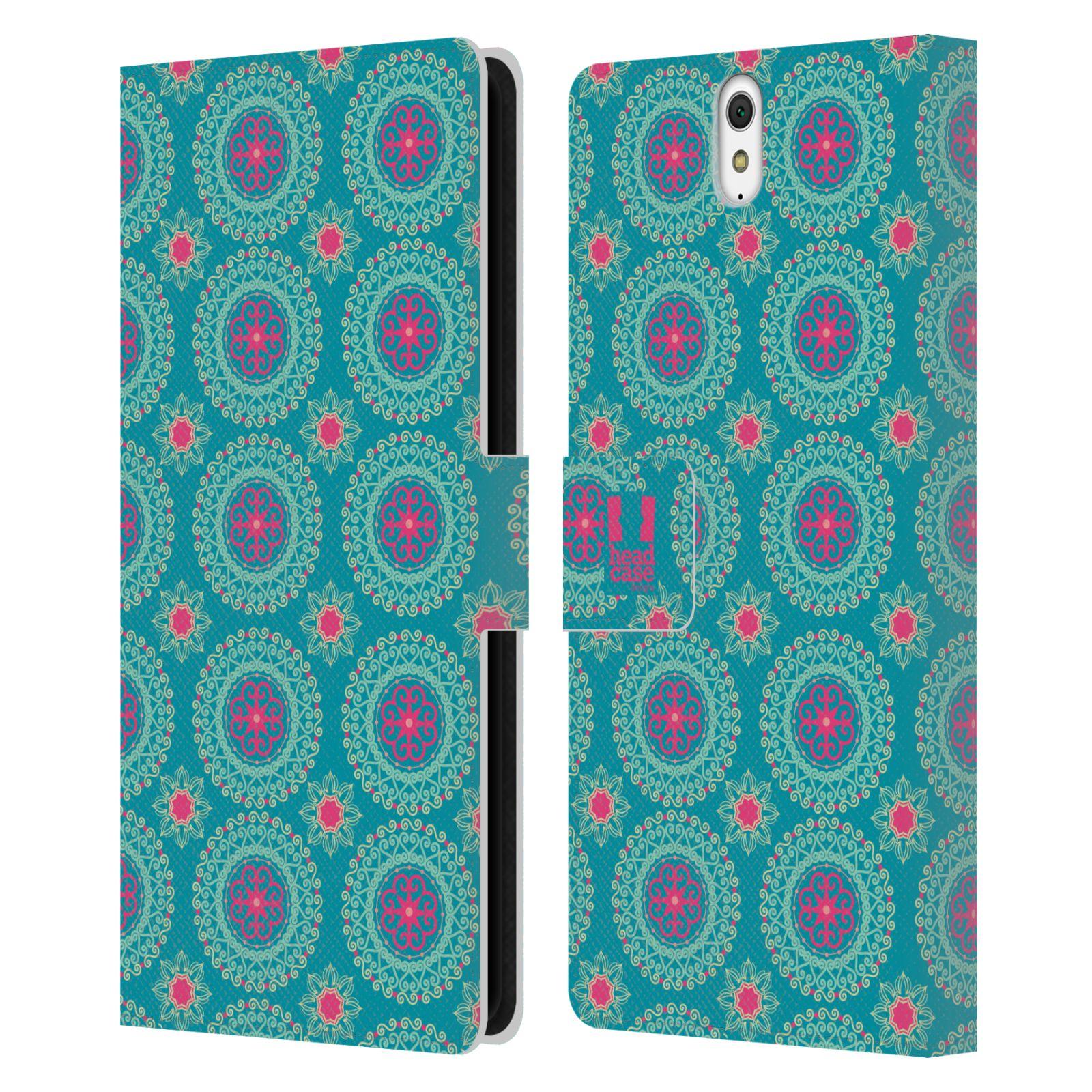 HEAD CASE Flipové pouzdro pro mobil SONY XPERIA C5 Ultra Slovanský vzor modrá/tyrkysová barva kaleidoskop