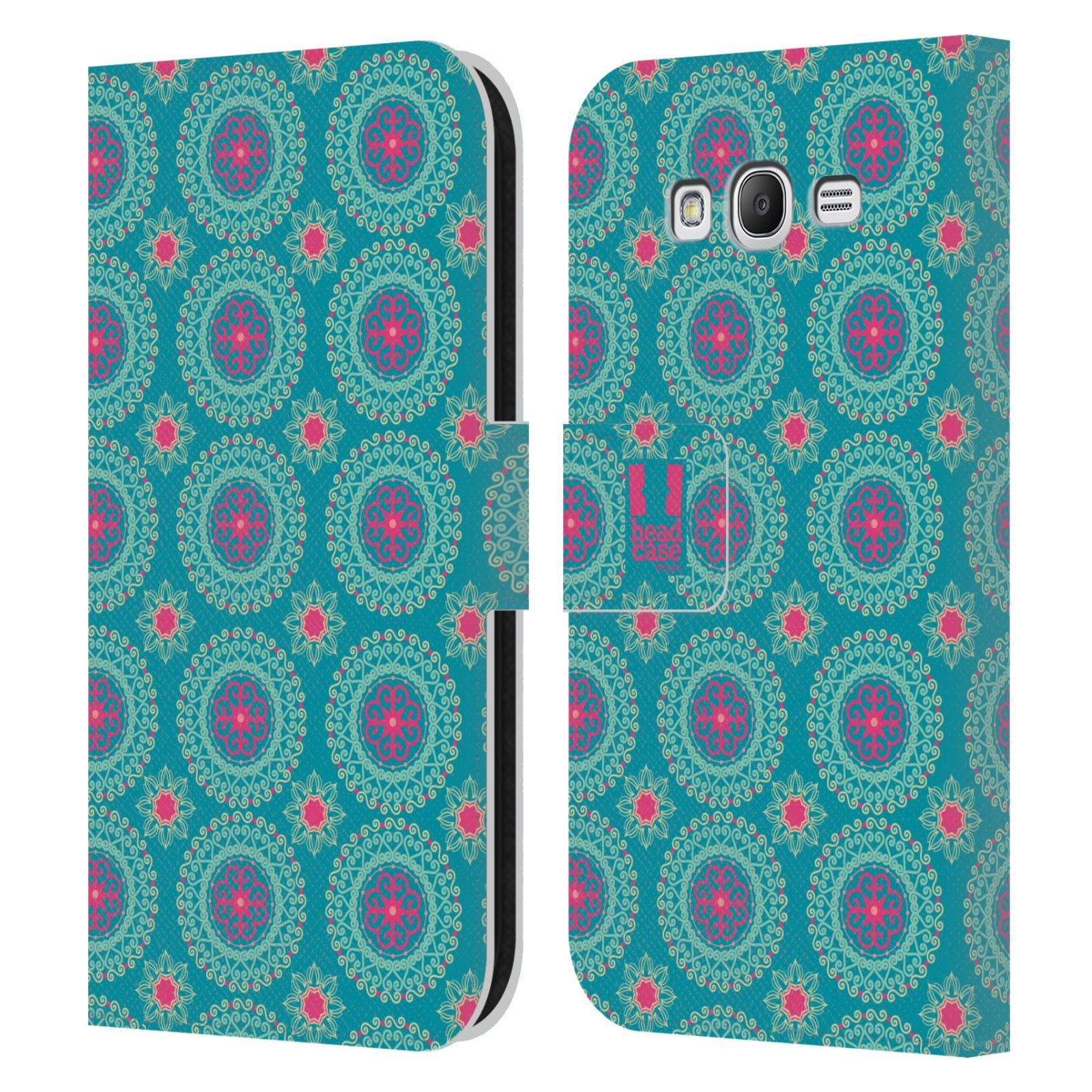 HEAD CASE Flipové pouzdro pro mobil Samsung Galaxy Grand i9080 Slovanský vzor modrá/tyrkysová barva kaleidoskop