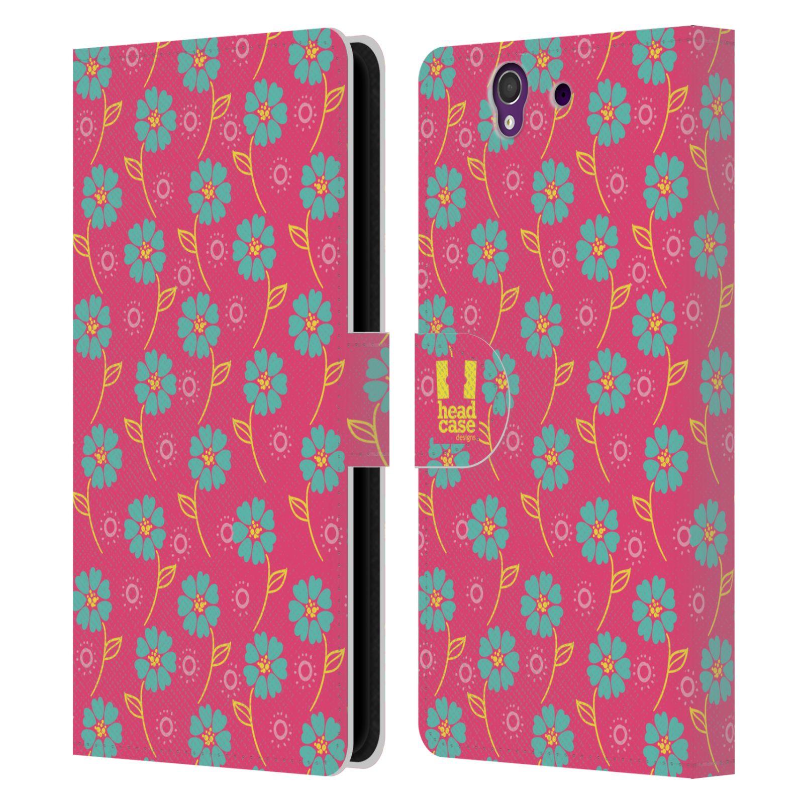 HEAD CASE Flipové pouzdro pro mobil SONY XPERIA Z (C6603) Slovanský vzor růžová a modrá květiny