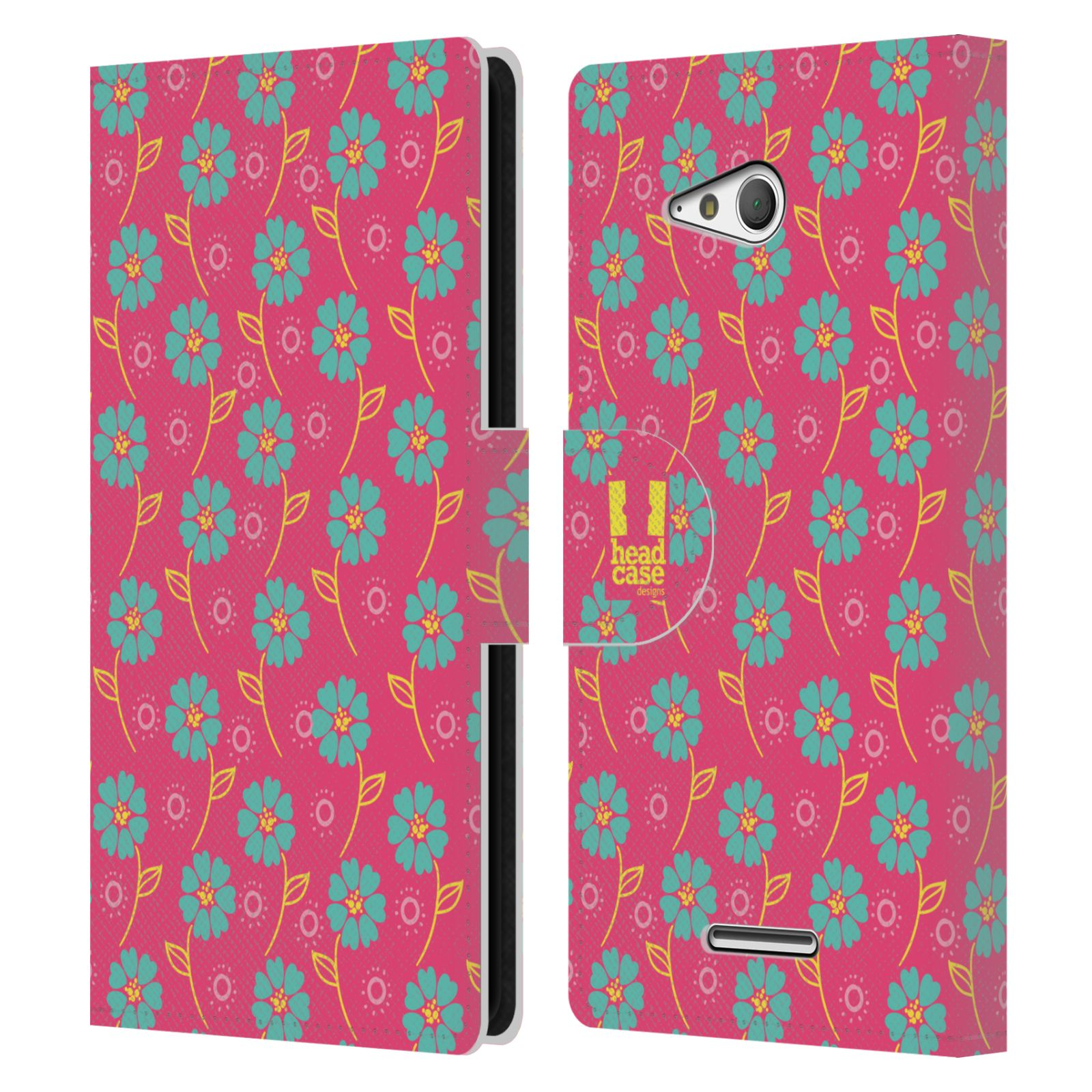 HEAD CASE Flipové pouzdro pro mobil SONY XPERIA E4g Slovanský vzor růžová a modrá květiny