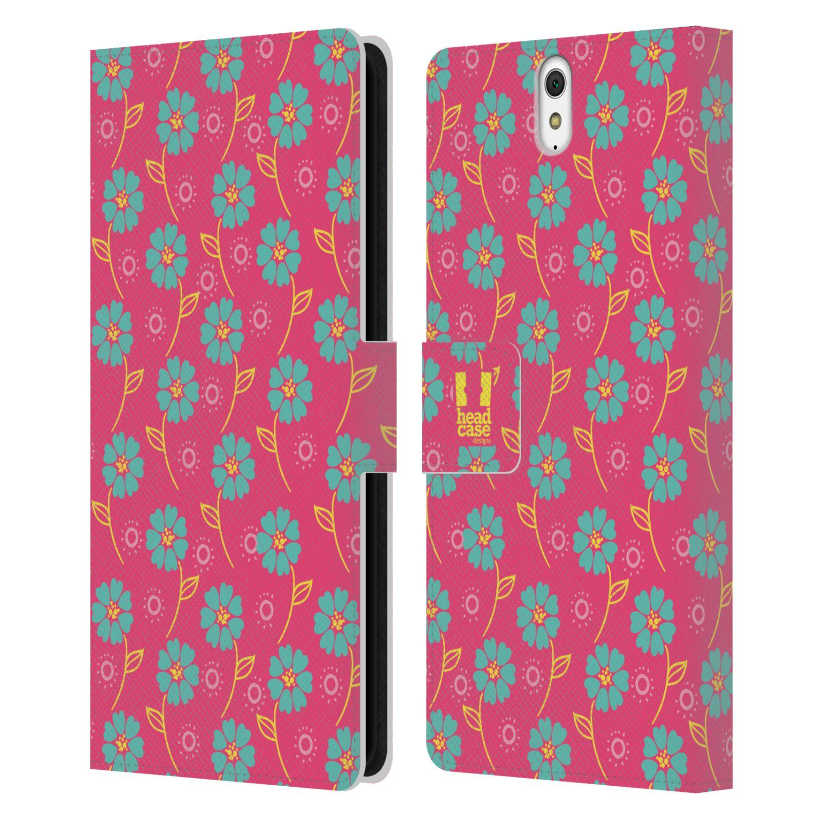 HEAD CASE Flipové pouzdro pro mobil SONY XPERIA C5 Ultra Slovanský vzor růžová a modrá květiny